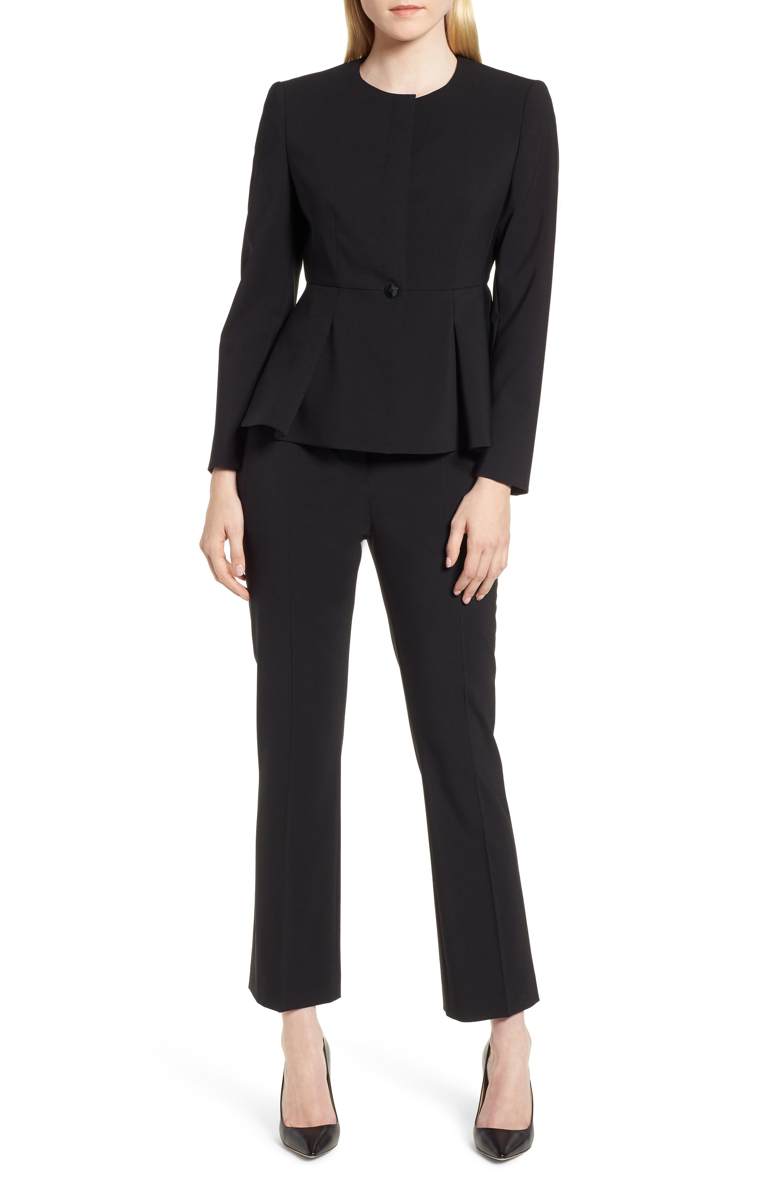 Talenara Tropical Stretch Wool Ankle Trousers,                             Alternate thumbnail 7, color,                             Black