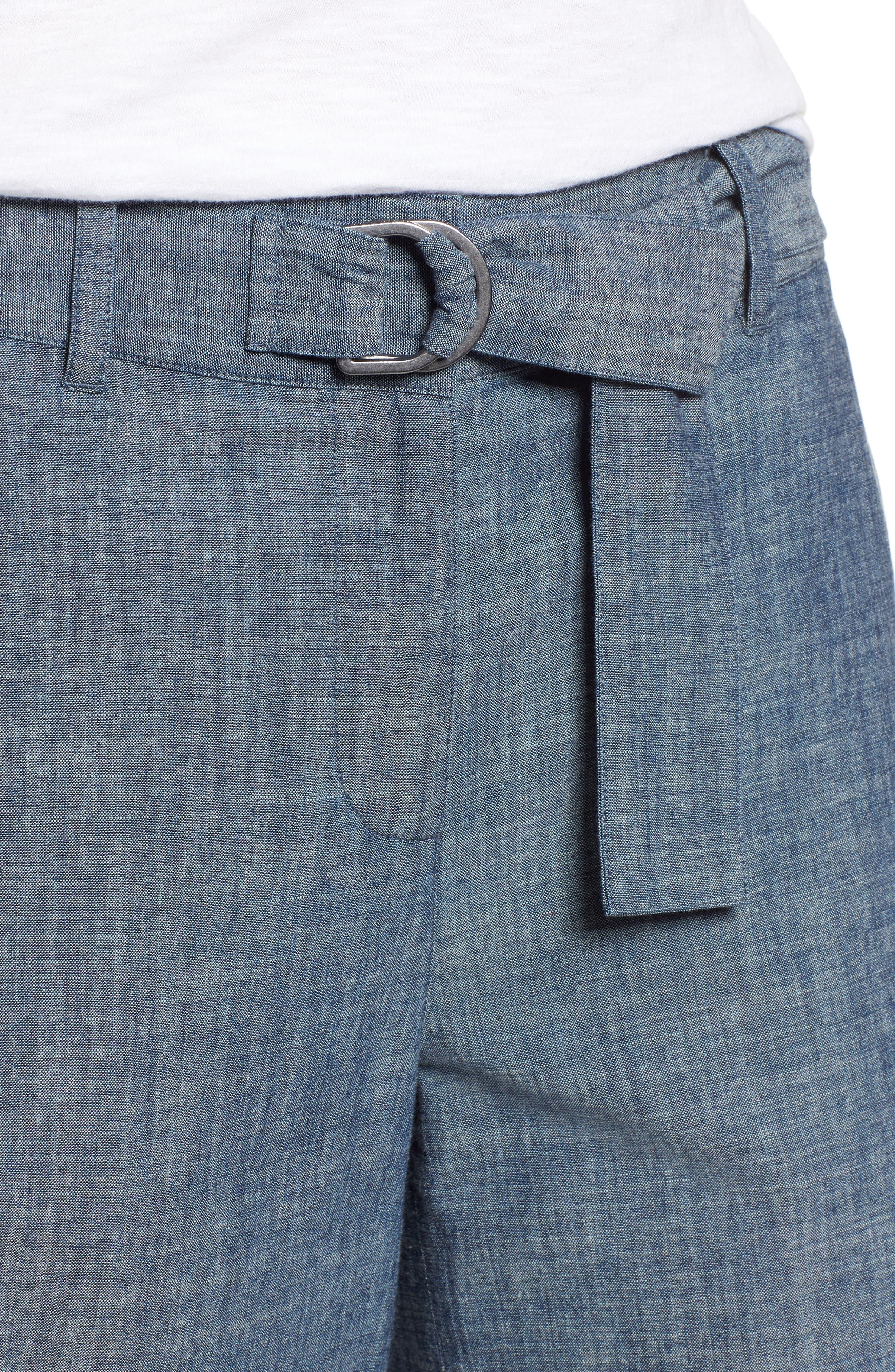 Wide Leg Crop Pants,                             Alternate thumbnail 4, color,                             Textured Navy