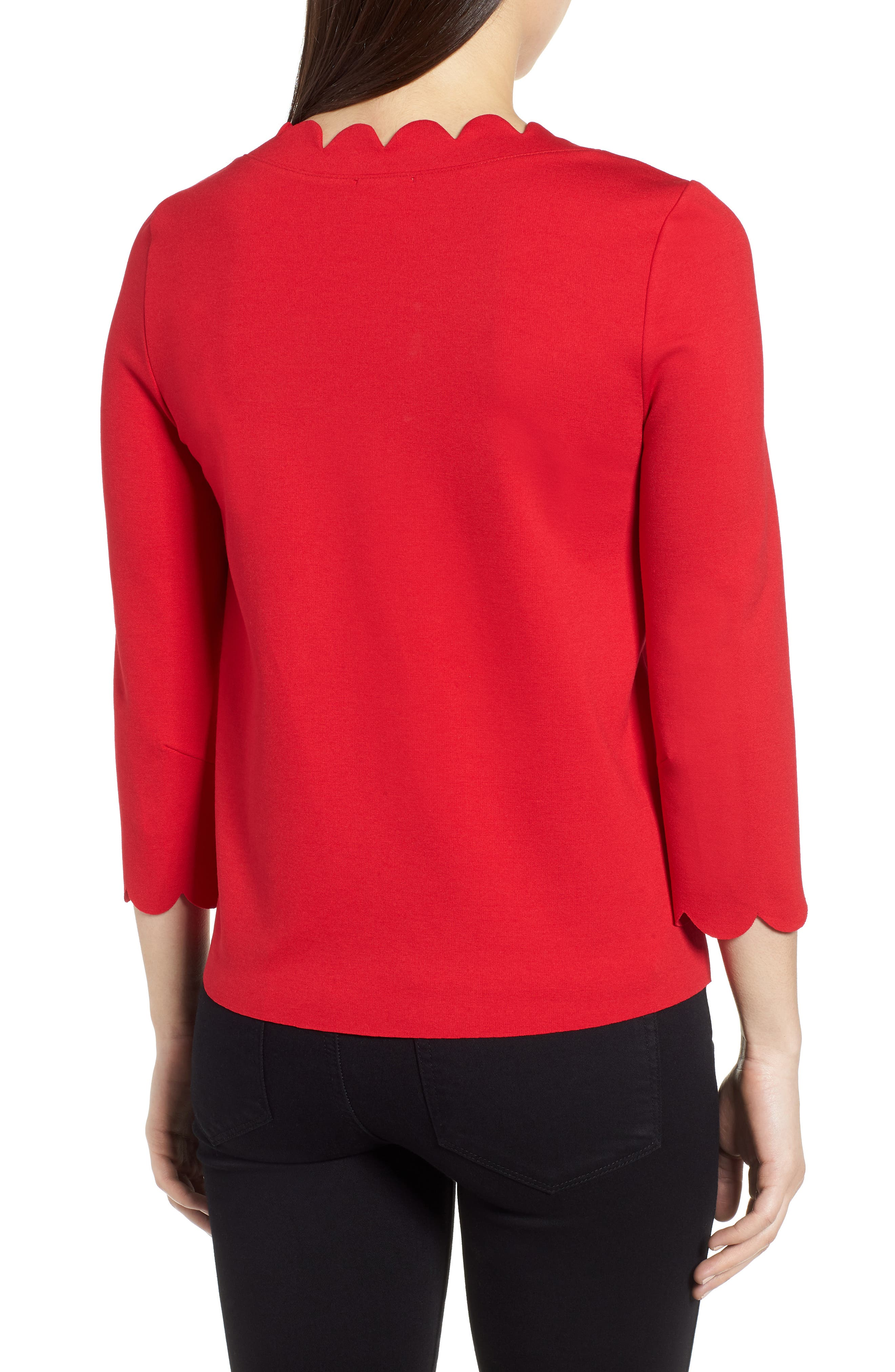 Ponte Scallop Top,                             Alternate thumbnail 2, color,                             Red