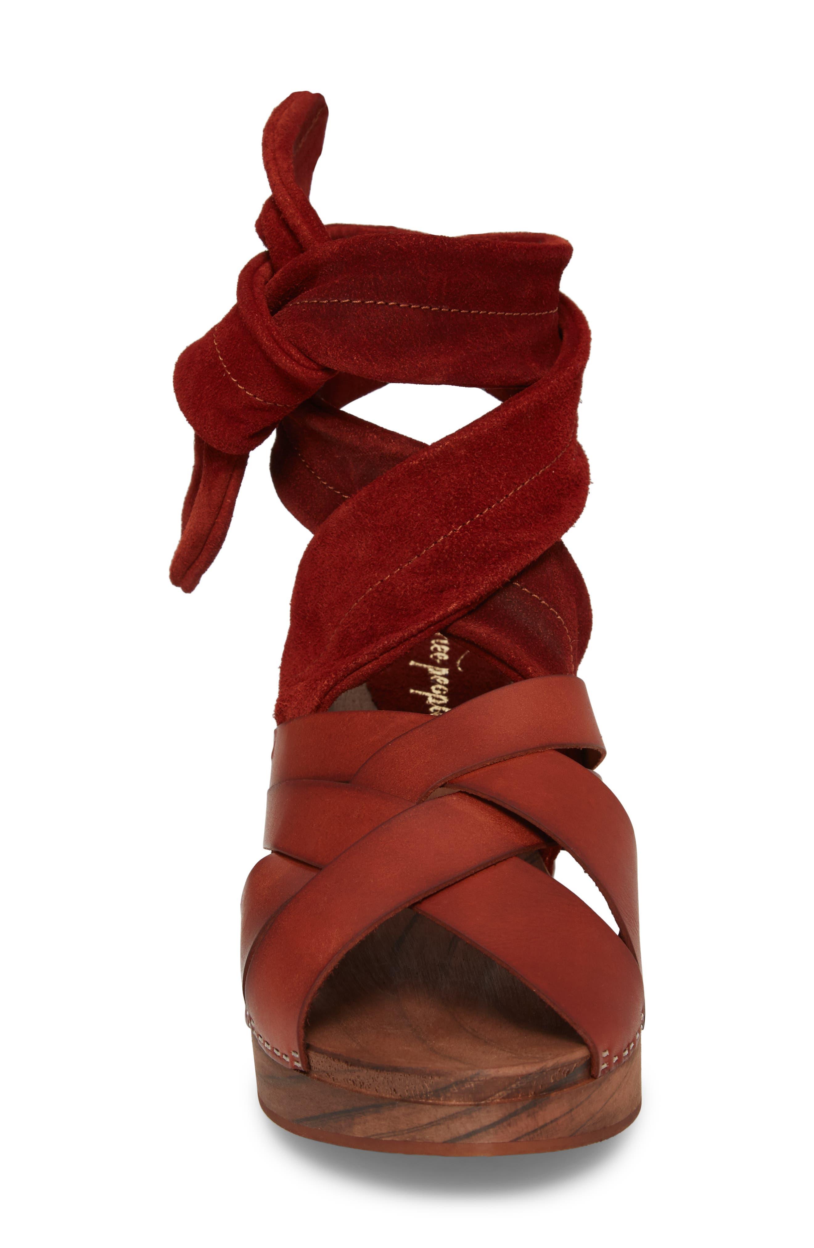 Emmy Ankle Wrap Sandal,                             Alternate thumbnail 4, color,                             Brown