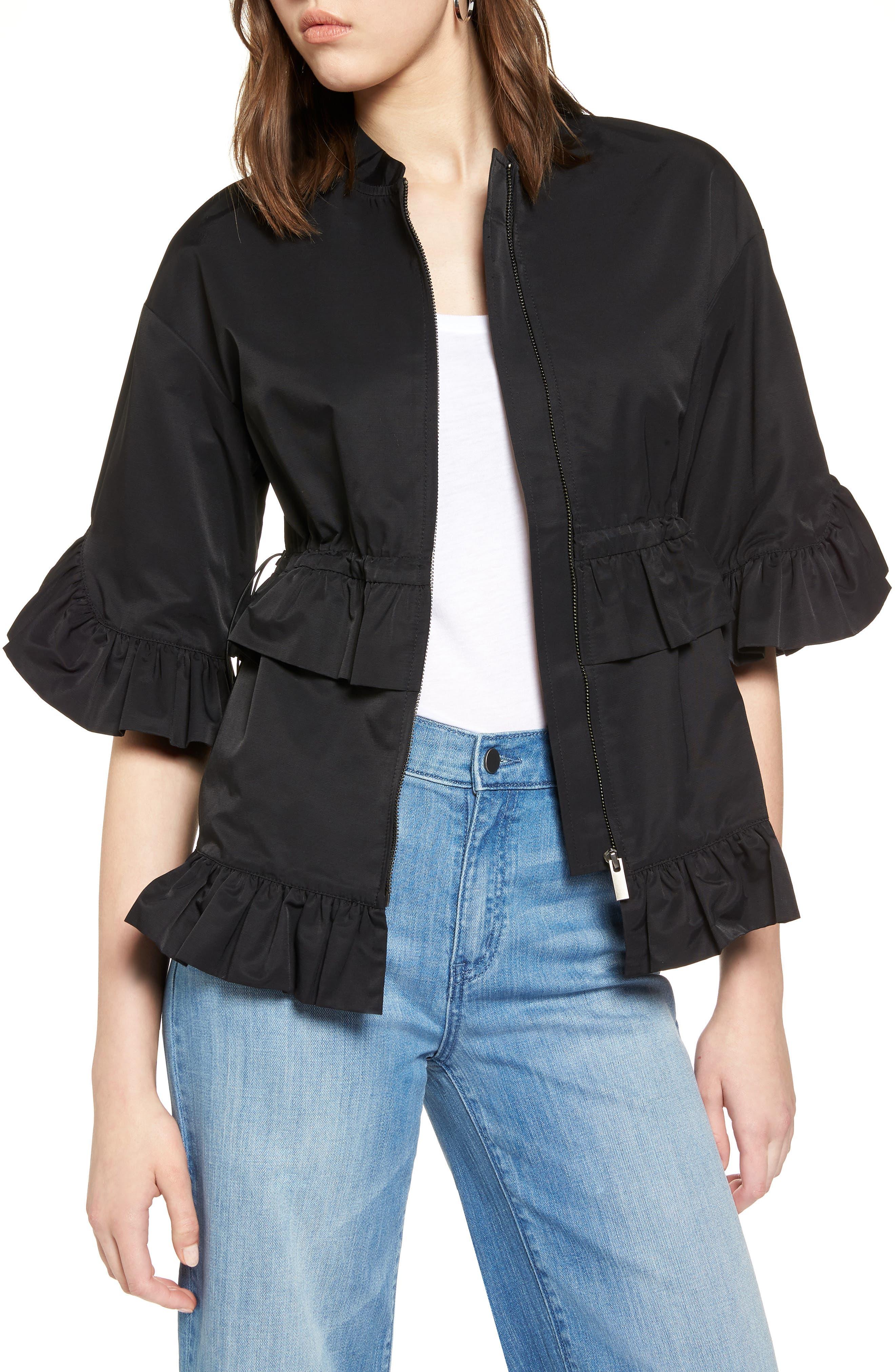 Alternate Image 1 Selected - Halogen® Ruffle Zip Jacket (Regular & Petite)