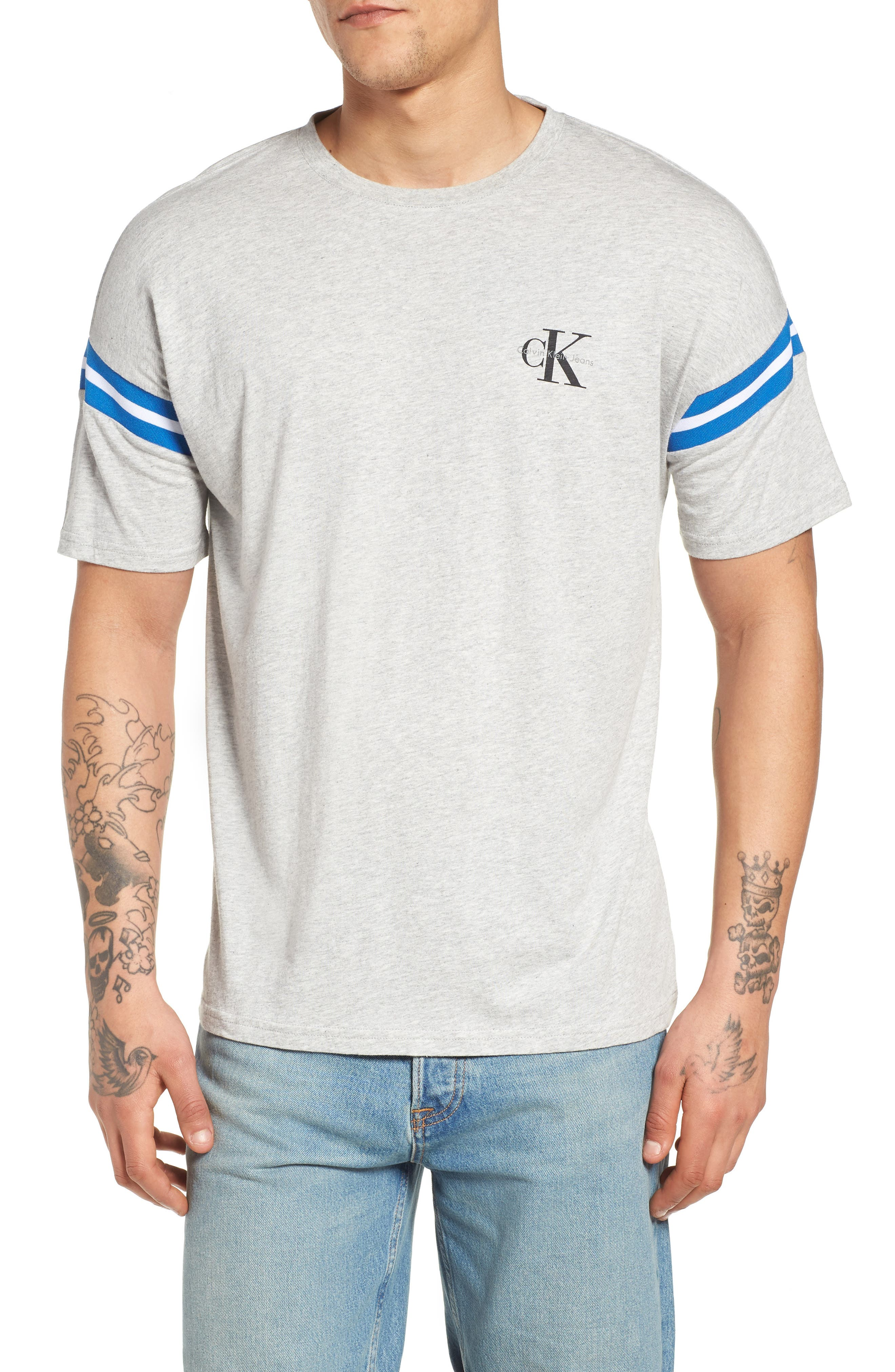 Tipped T-Shirt,                         Main,                         color, Smoke Heather