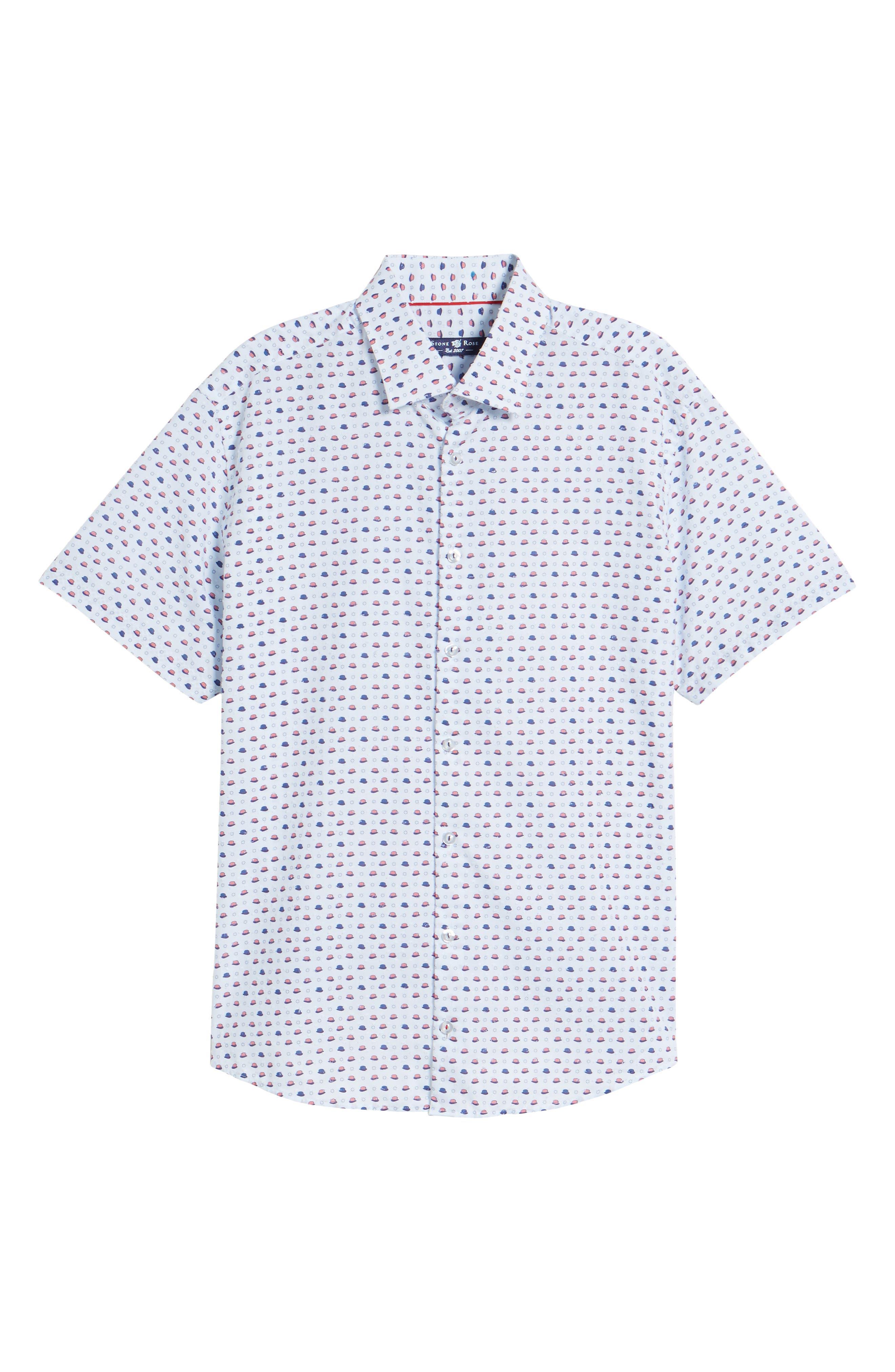 Contemporary Fit Bowler Hat Print Sport Shirt,                             Alternate thumbnail 6, color,                             White
