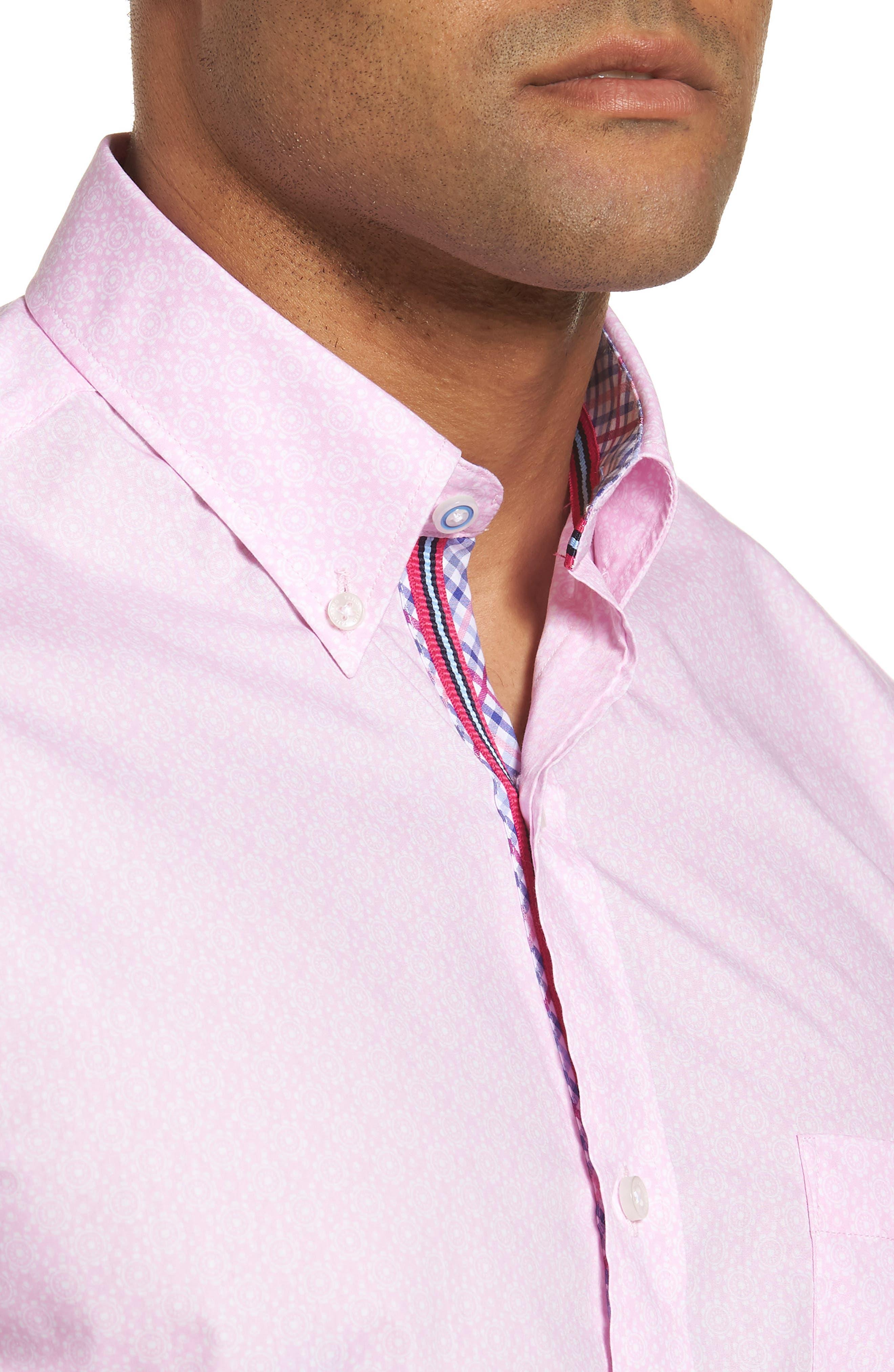 Napolean Regular Fit Medallion Sport Shirt,                             Alternate thumbnail 4, color,                             Pink