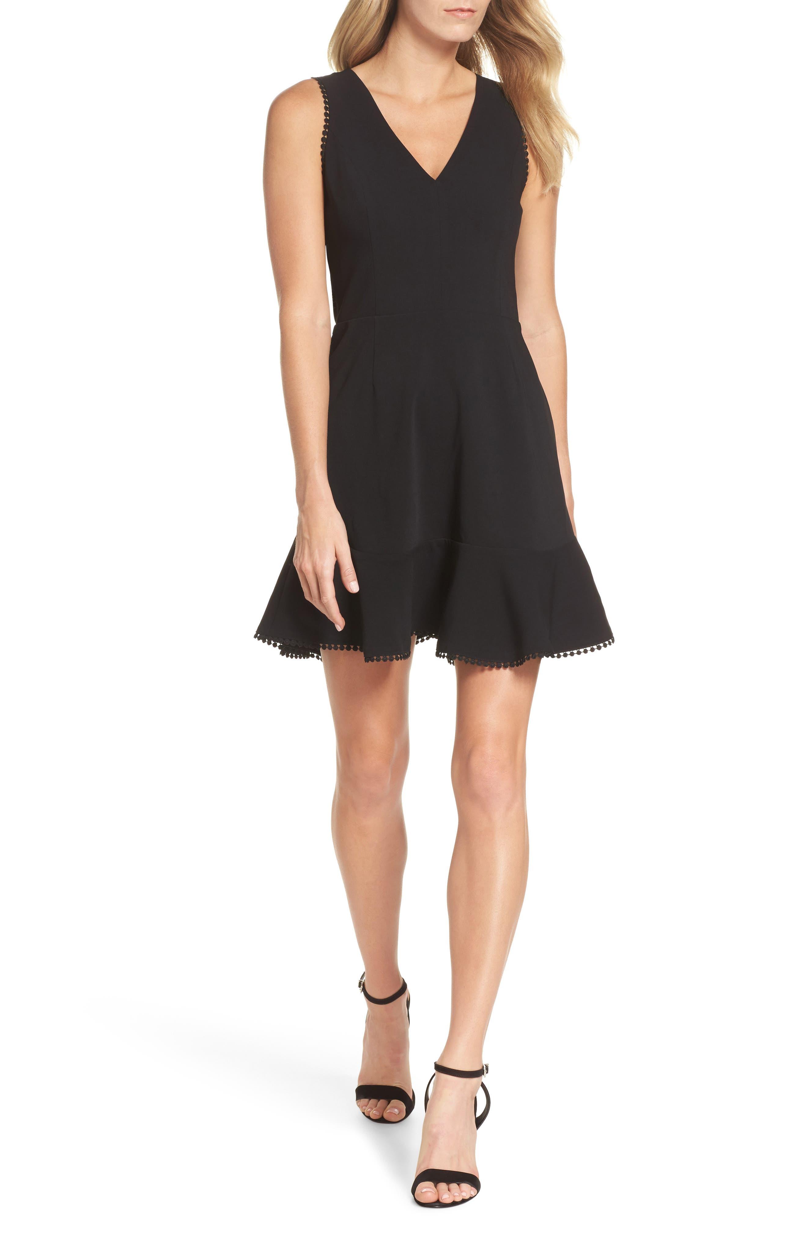 Zahara Cutout Fit & Flare Dress,                         Main,                         color, Black