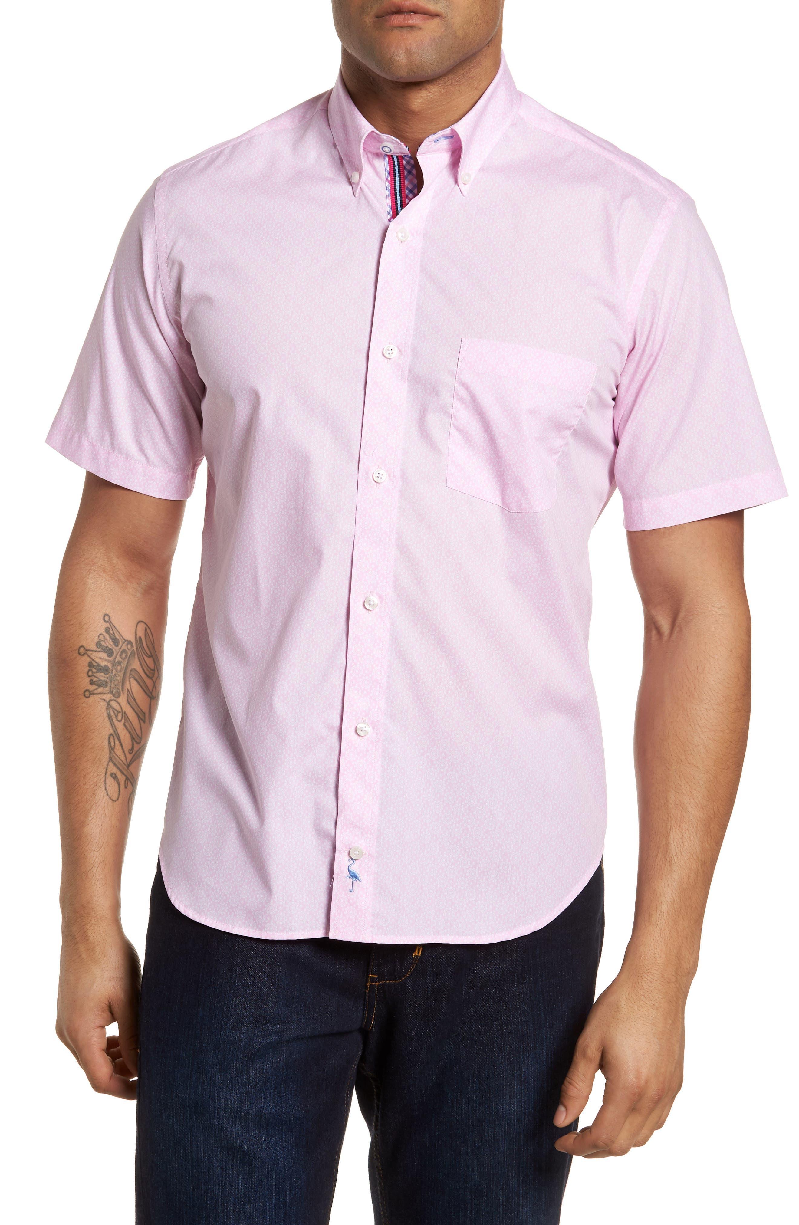 Napolean Regular Fit Medallion Sport Shirt,                             Main thumbnail 1, color,                             Pink