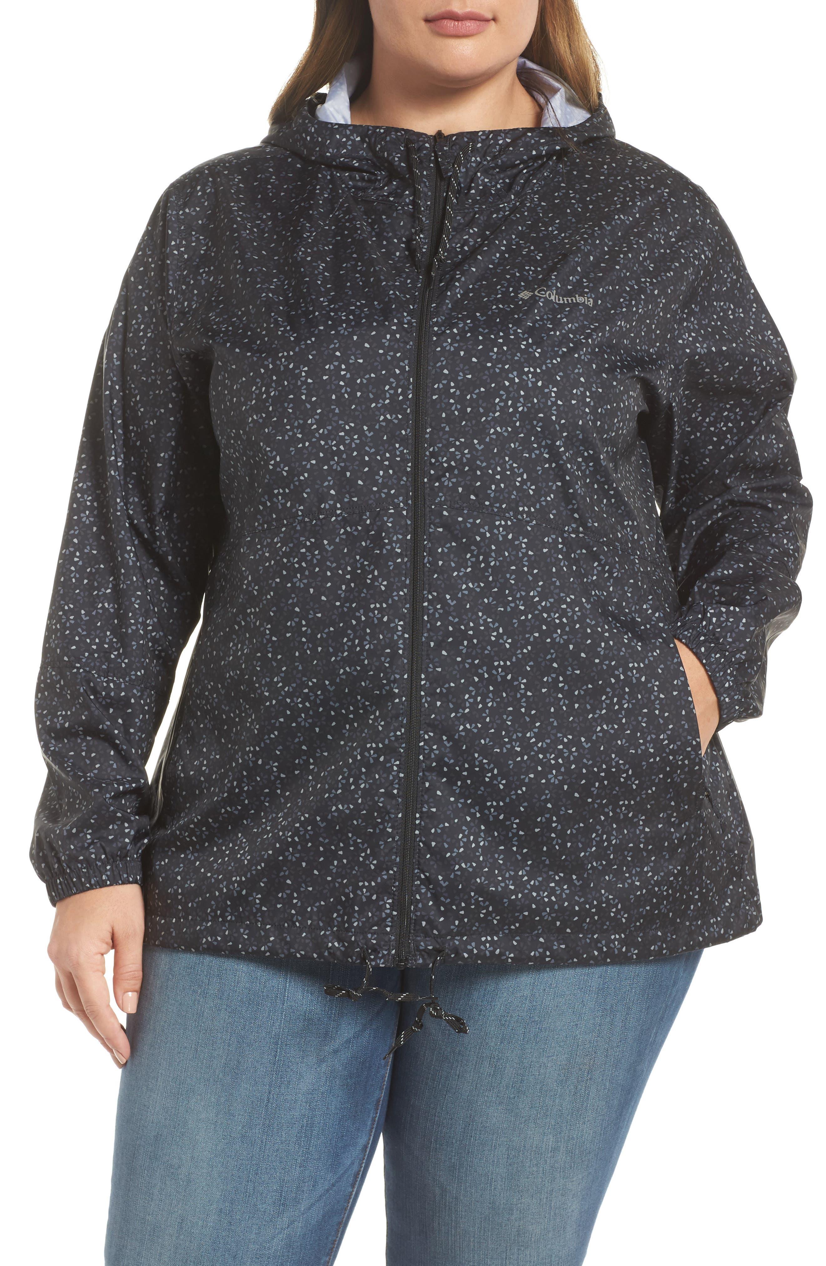 Flash Forward Print Hooded Jacket,                             Alternate thumbnail 4, color,                             Black Print