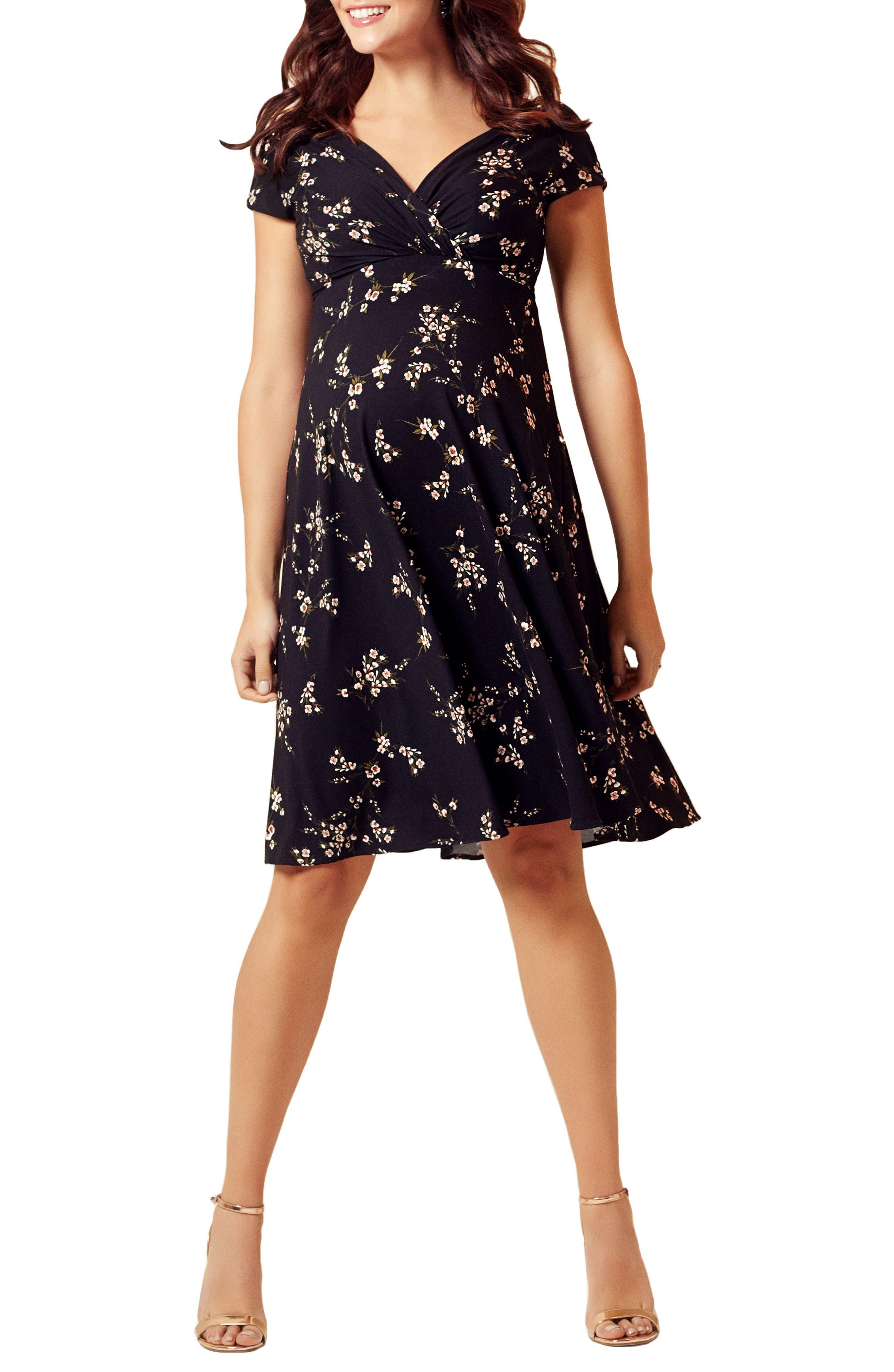 Alessandra Floral Maternity/Nursing Dress,                         Main,                         color, Night Blossom