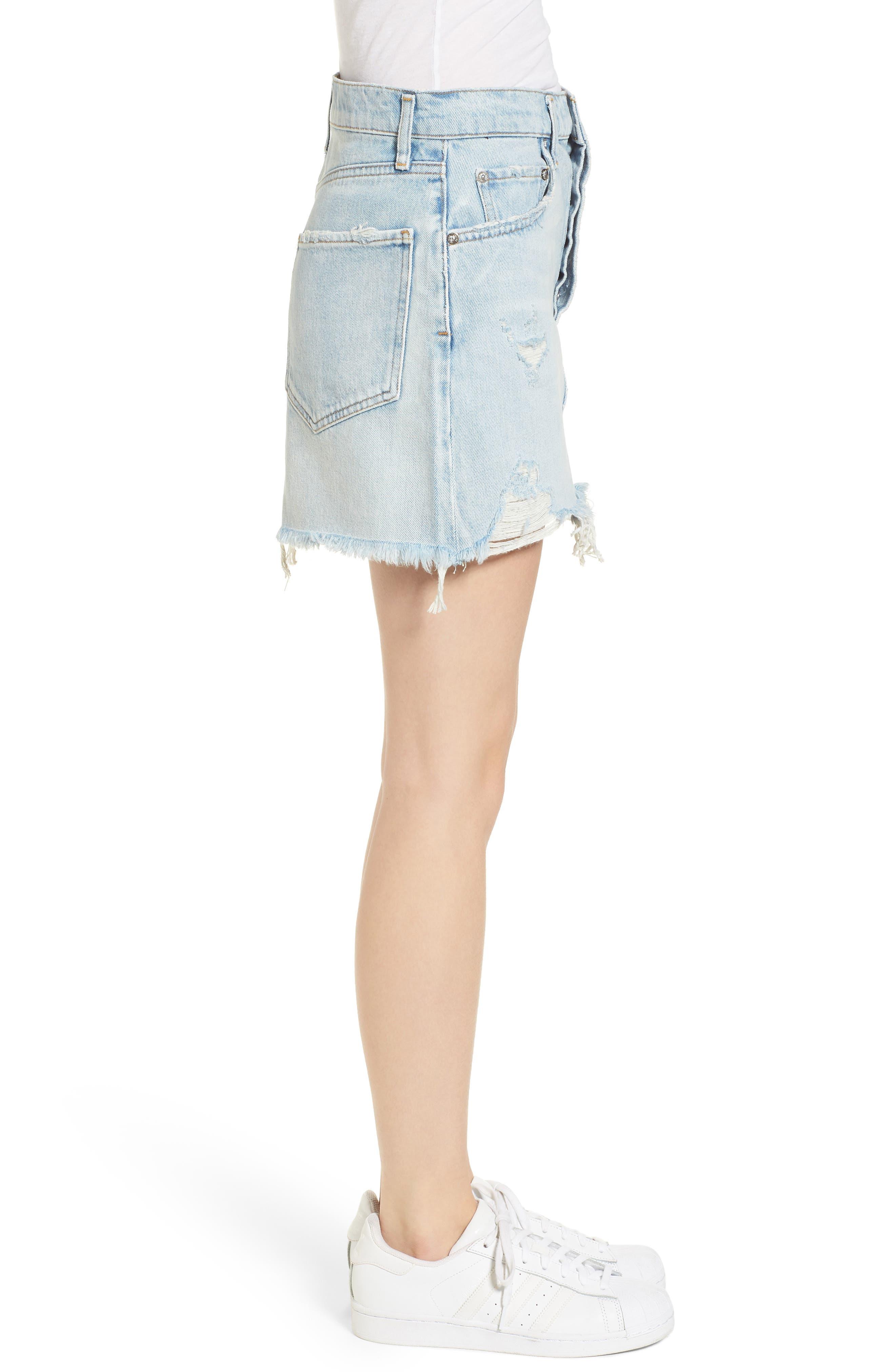 Quinn High Waist Cutoff Denim Miniskirt,                             Alternate thumbnail 3, color,                             Vega