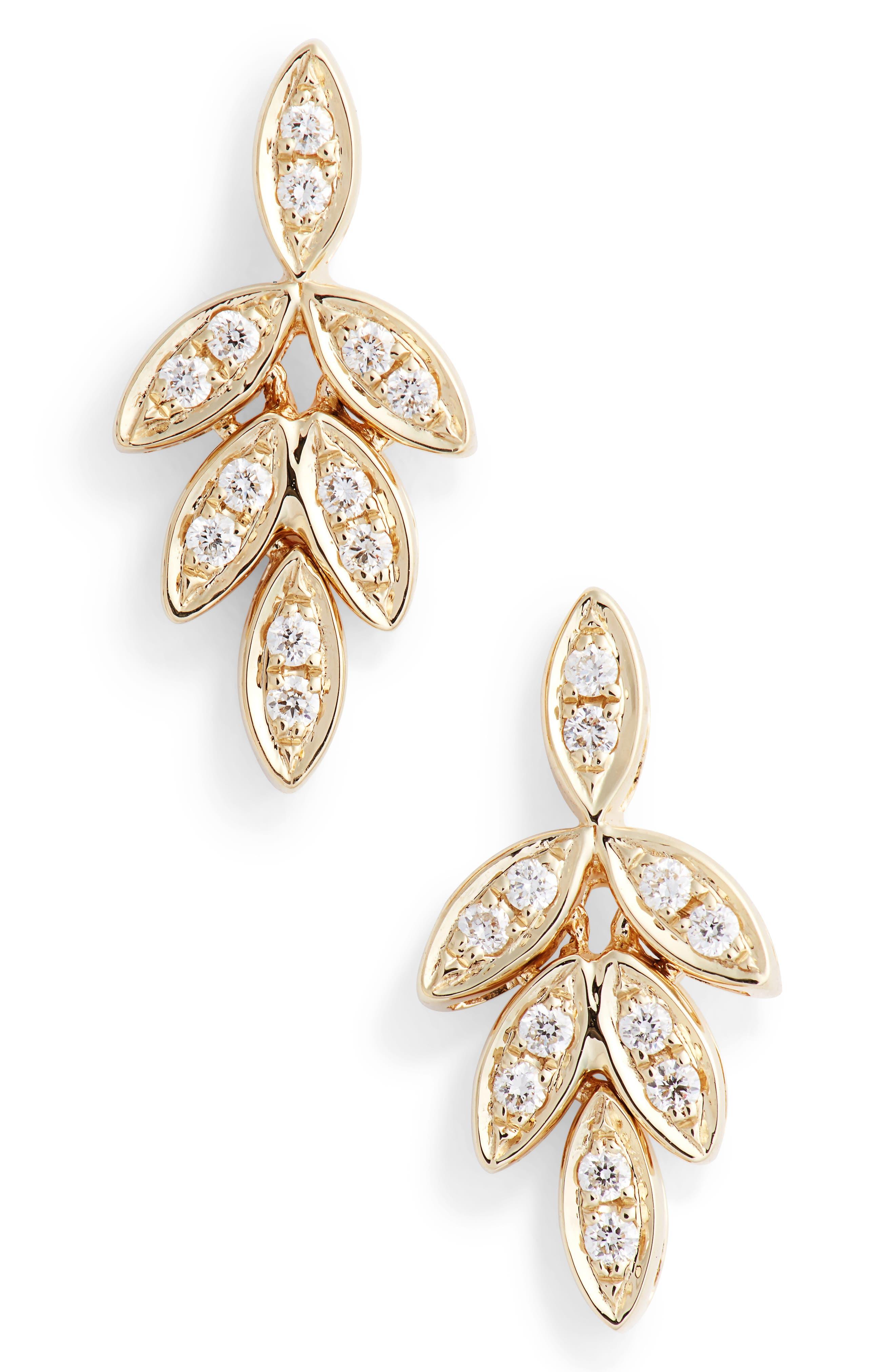 Dana Rebecca Lori Paige Diamond Leaf Stud Earrings