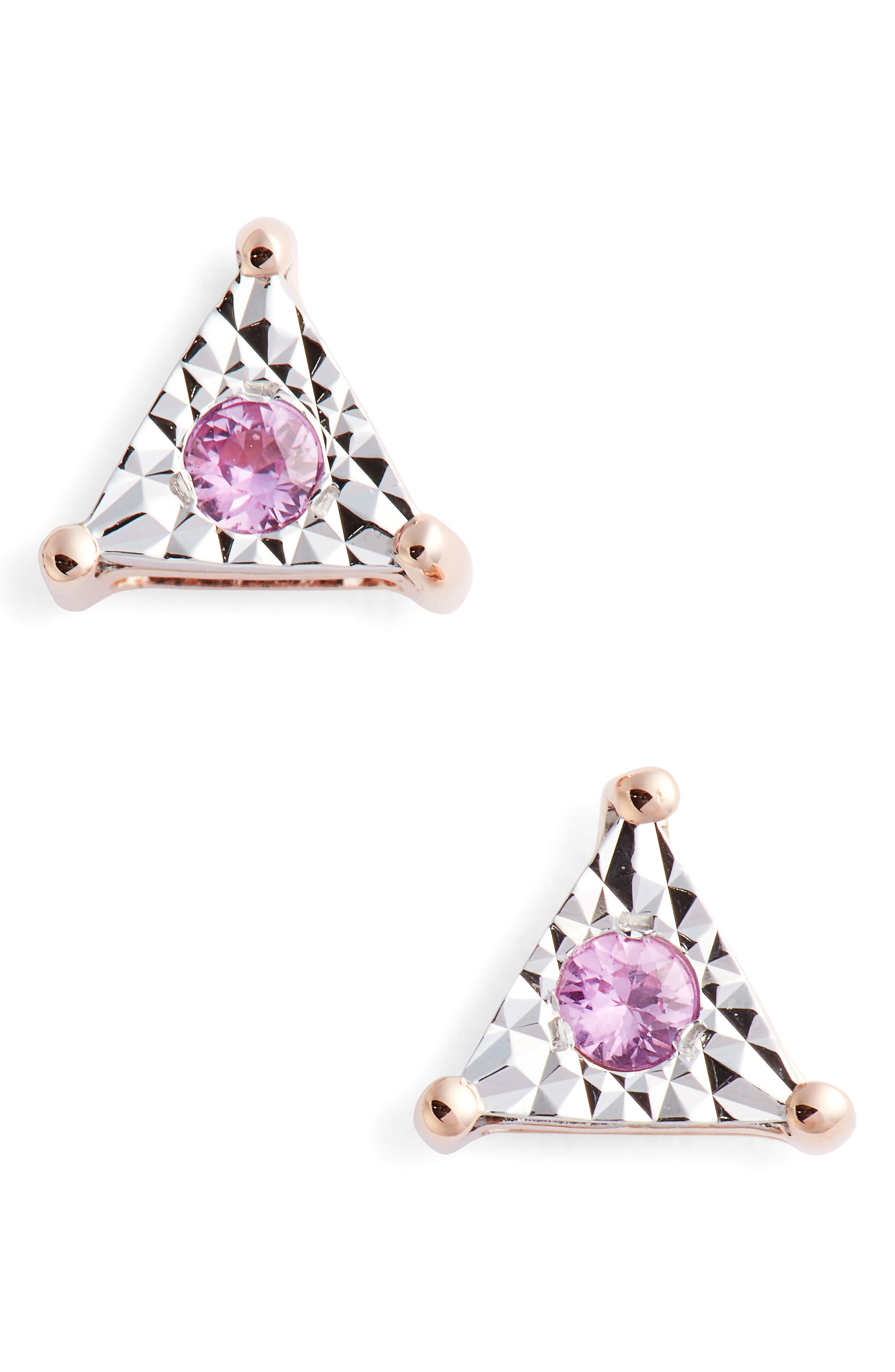 Emily Sarah Triangle Stud Earrings,                             Main thumbnail 1, color,                             Rose Gold/ Pink Sapphire