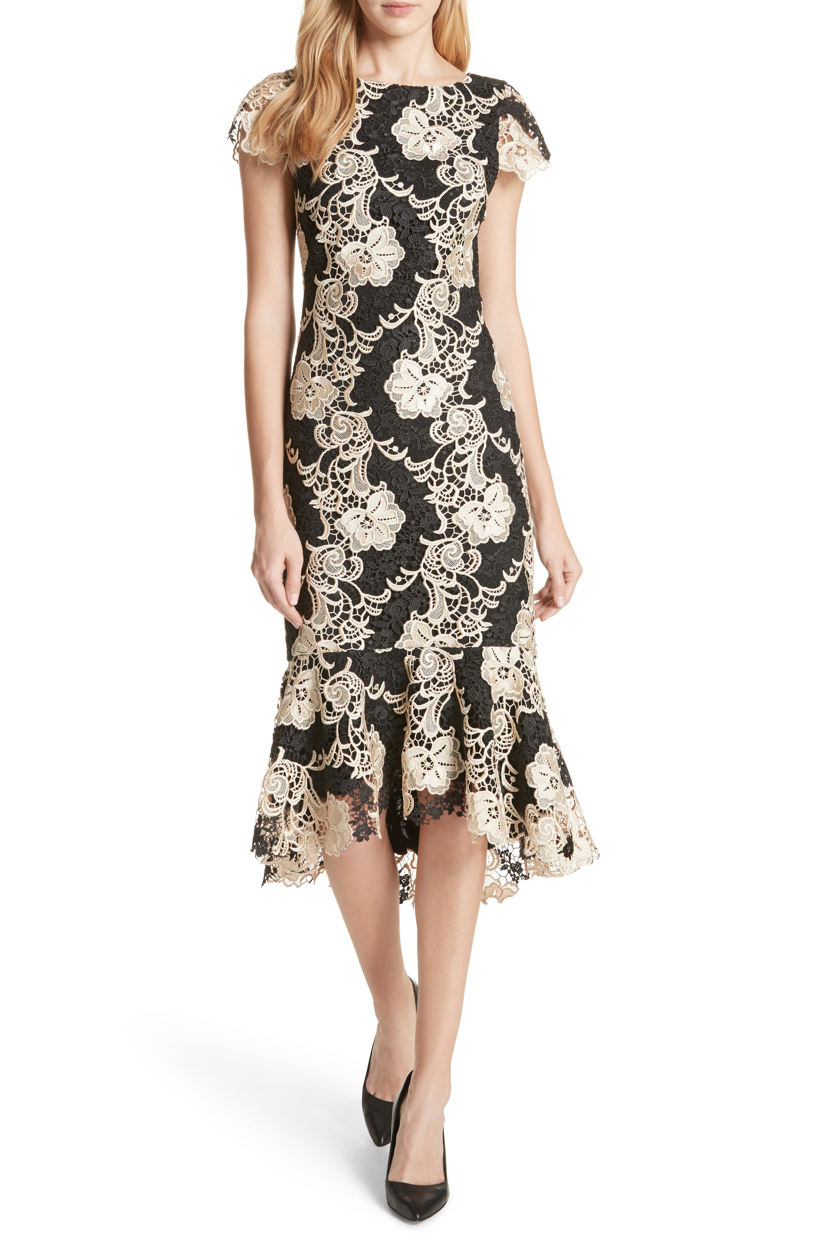 Alice + Olivia Cleora Fitted Lace Midi Dress