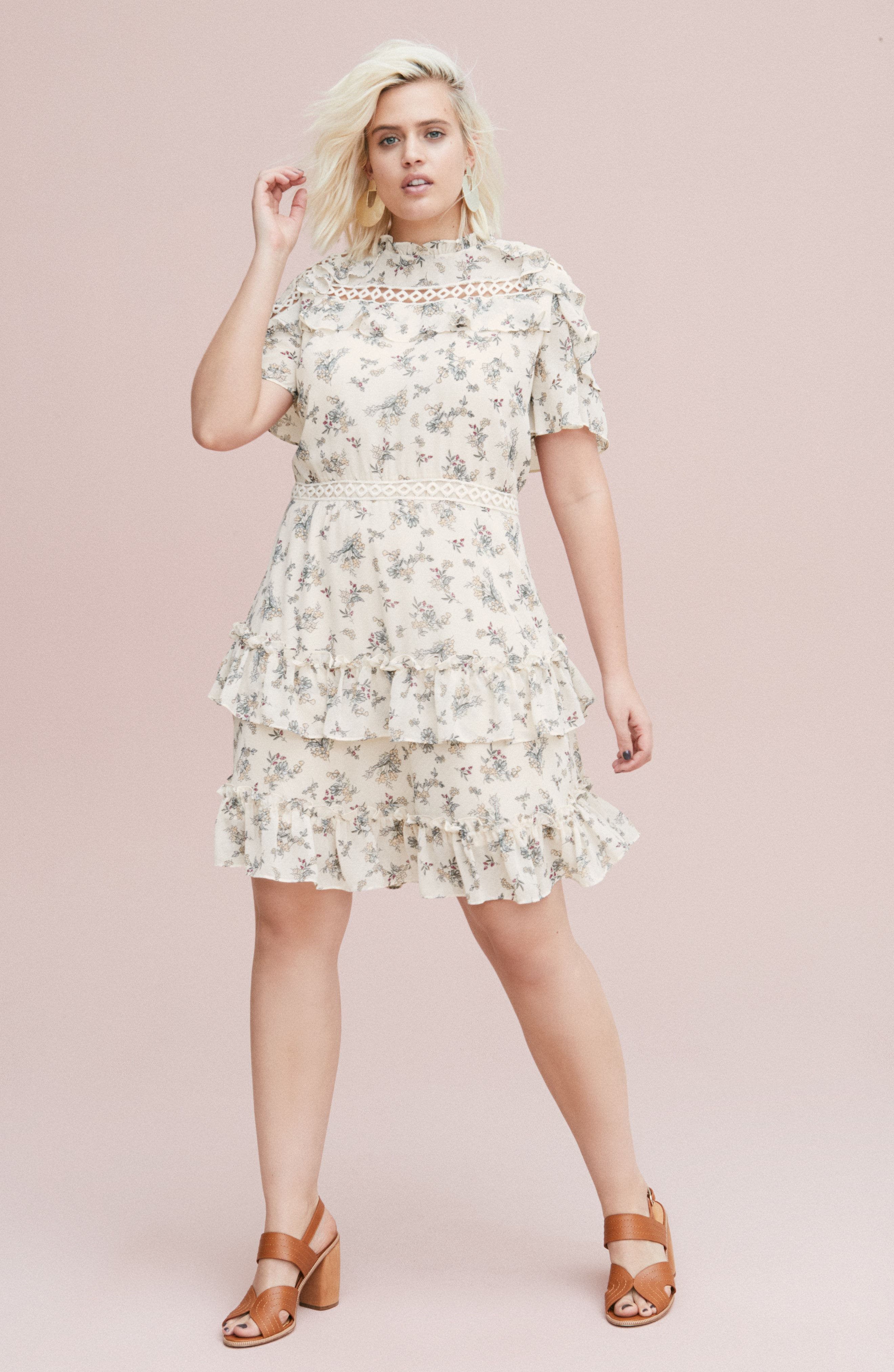 Print Ruffle Dress,                             Alternate thumbnail 2, color,                             Blush Floral Bunch