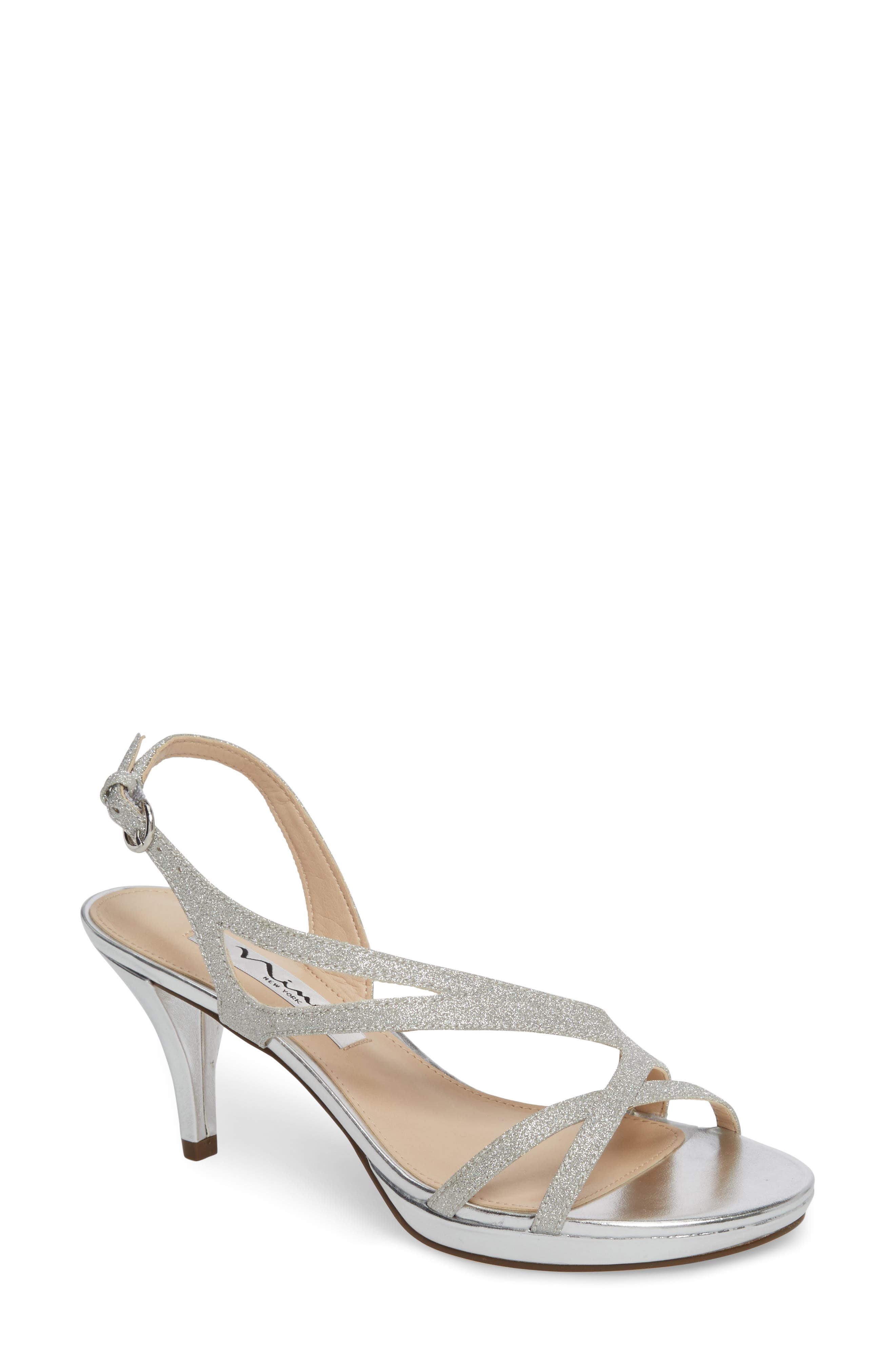 Nura Sandal,                         Main,                         color, Silver Glitter Fabric