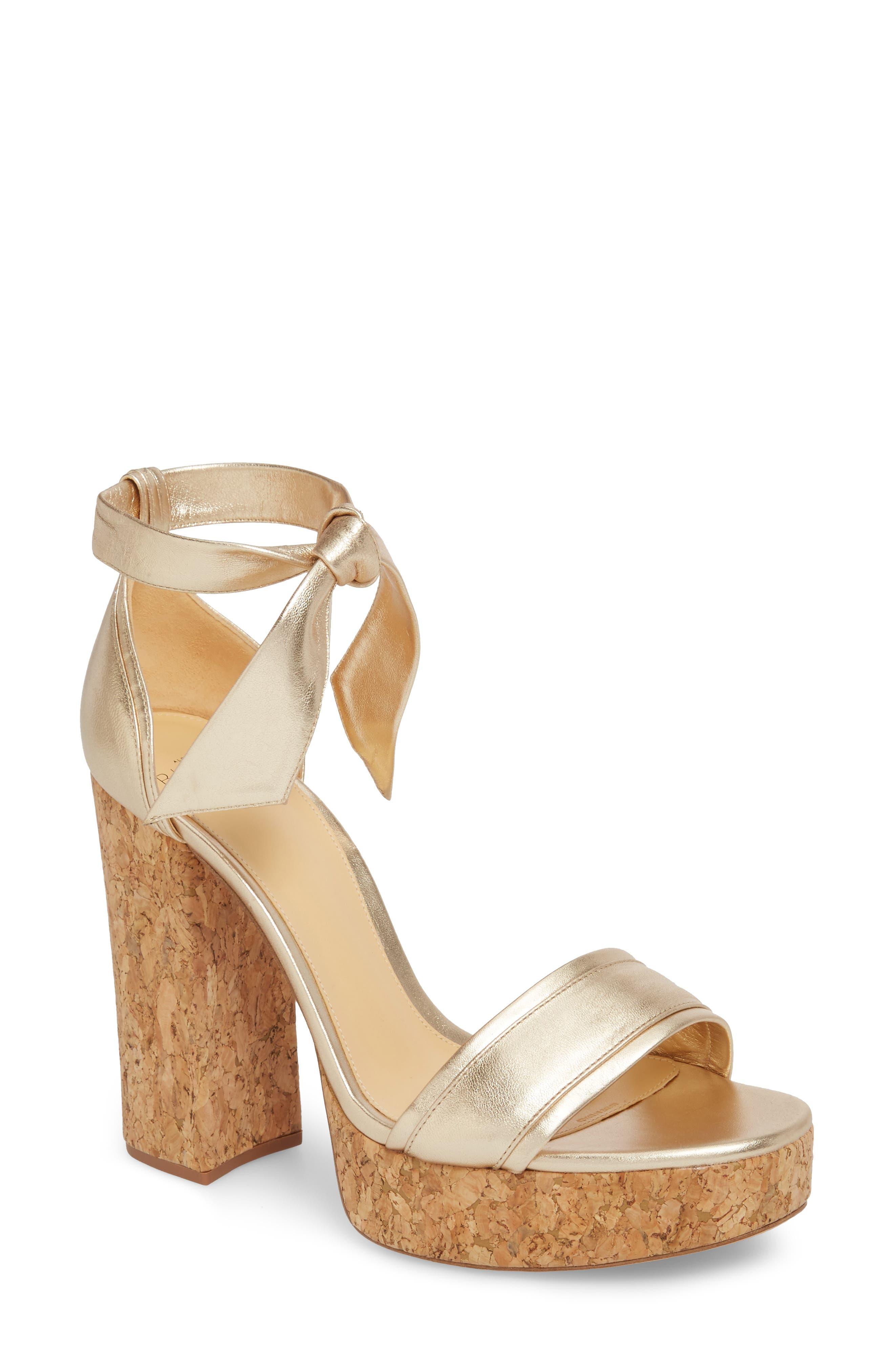 Celine Ankle Tie Platform Sandal,                             Main thumbnail 1, color,                             Gold