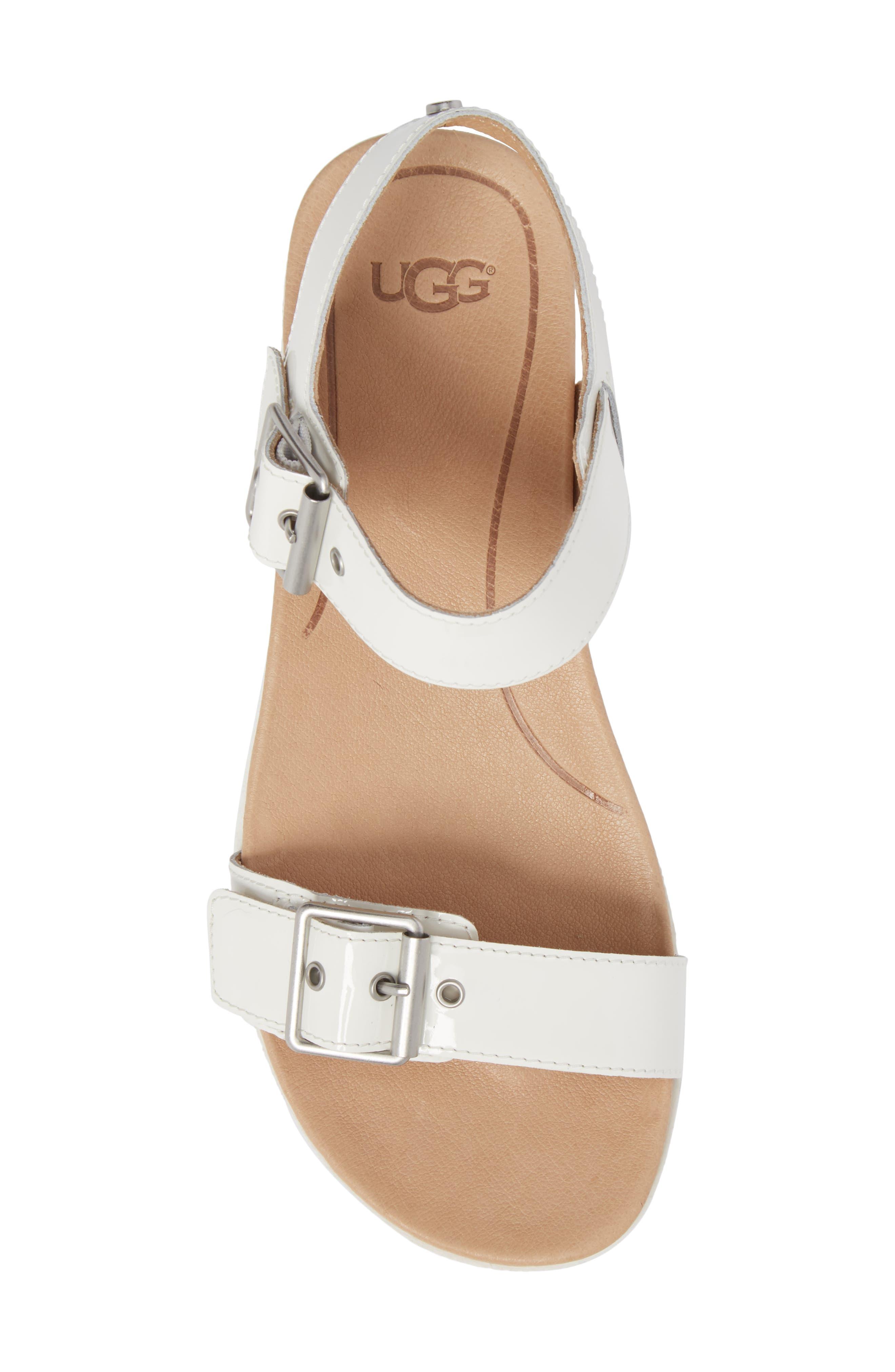 Angie Platform Sandal,                             Alternate thumbnail 5, color,                             White Leather