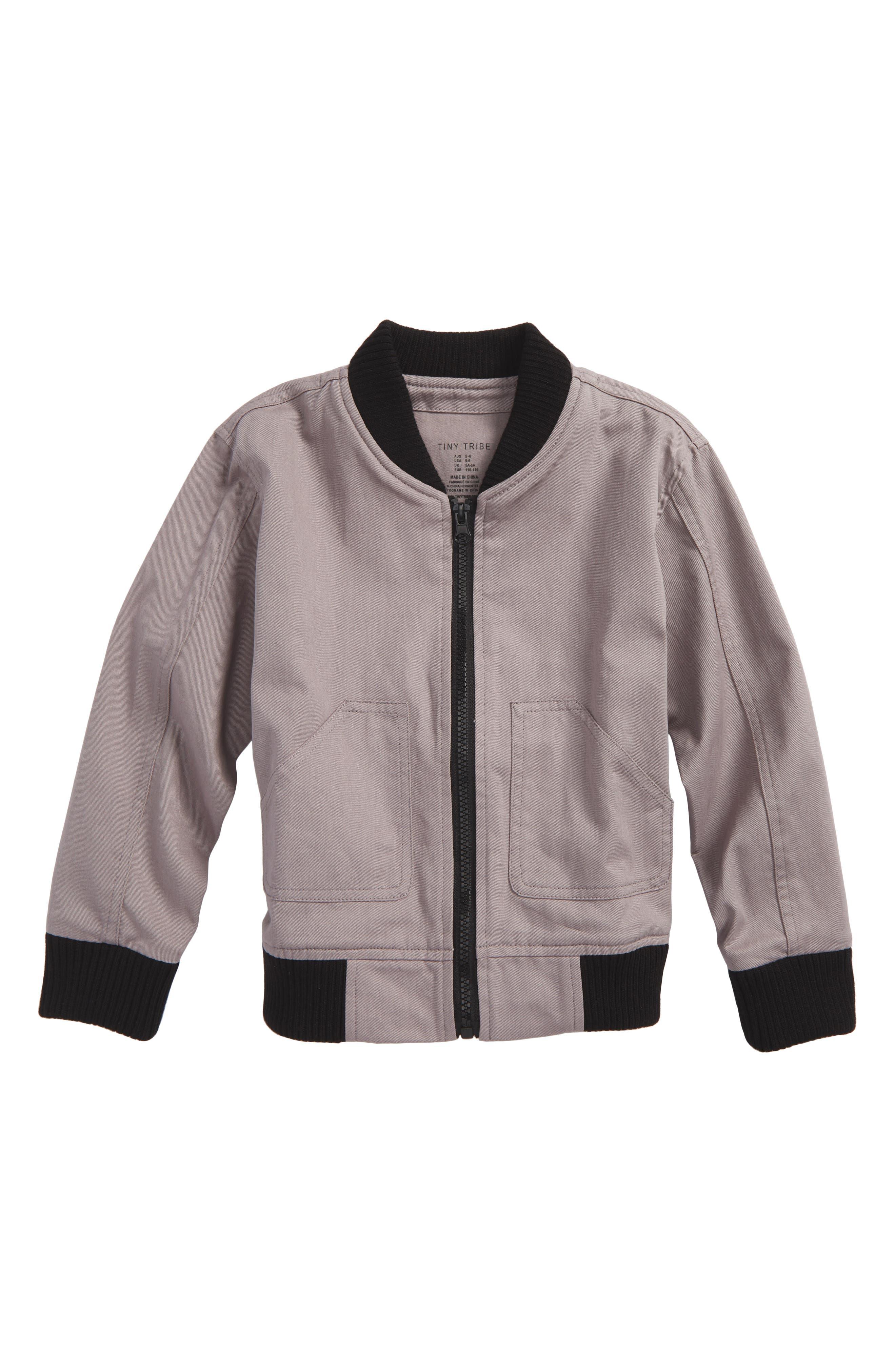 One Fine Apple Bomber Jacket,                         Main,                         color, Grey