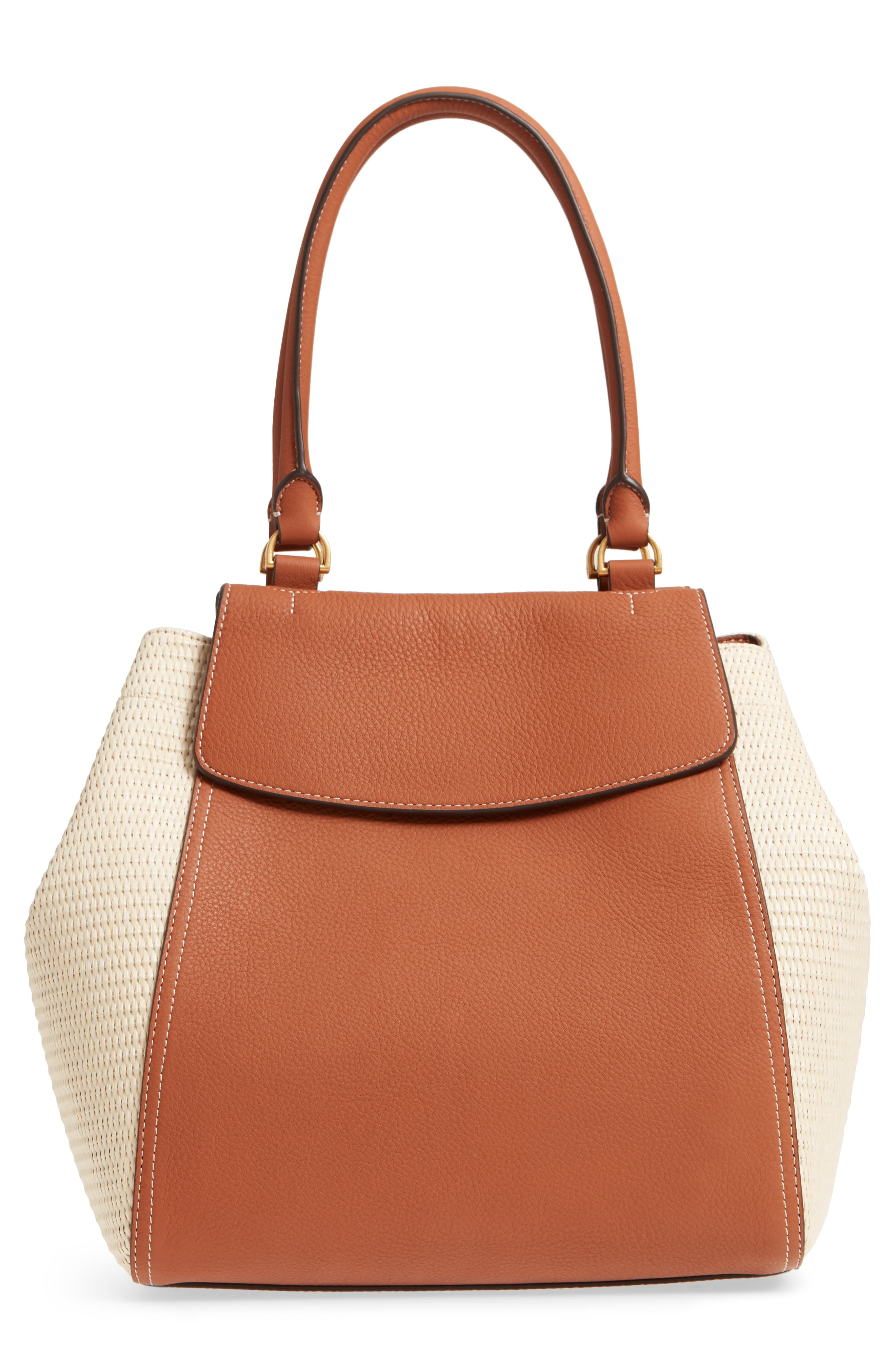 Half-Moon Straw & Leather Tote,                             Alternate thumbnail 3, color,                             Natural / Classic Tan