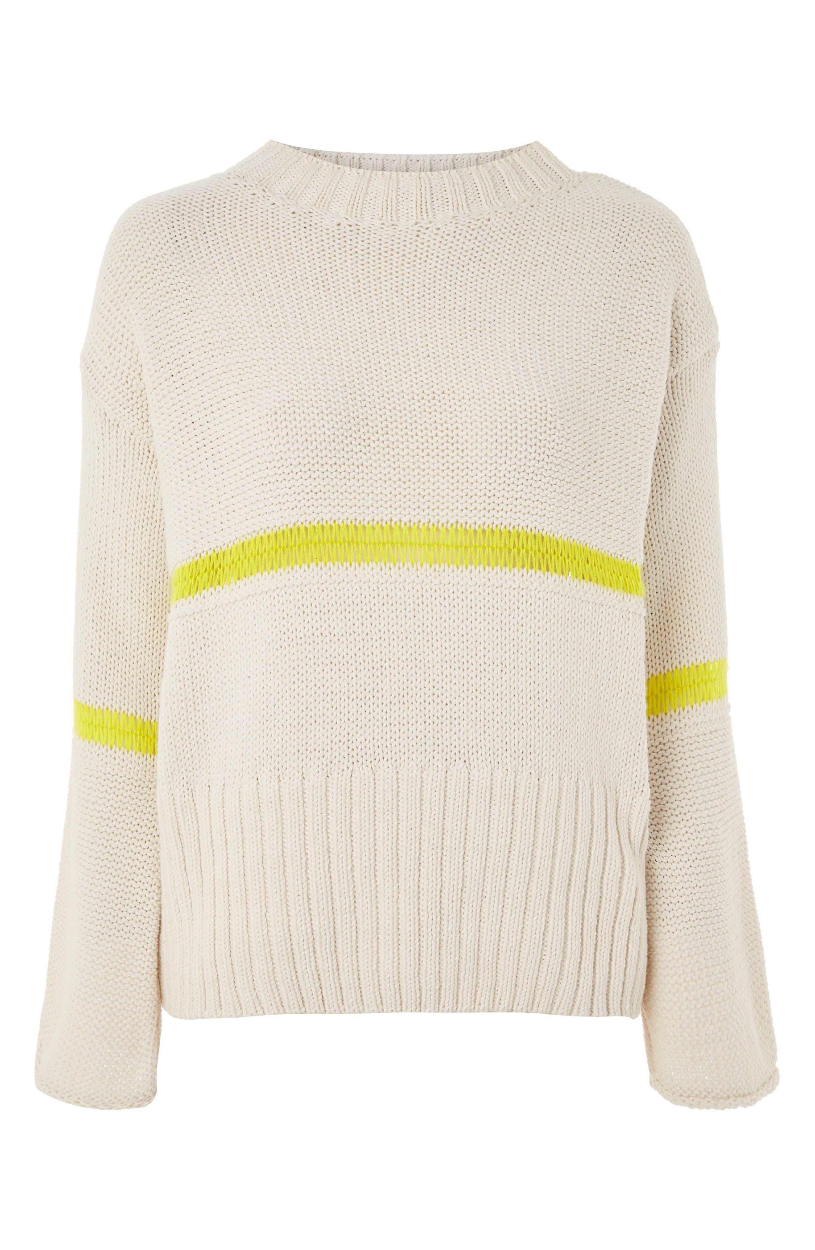 Stripe Yarn Sweater,                             Alternate thumbnail 4, color,                             Ivory Multi