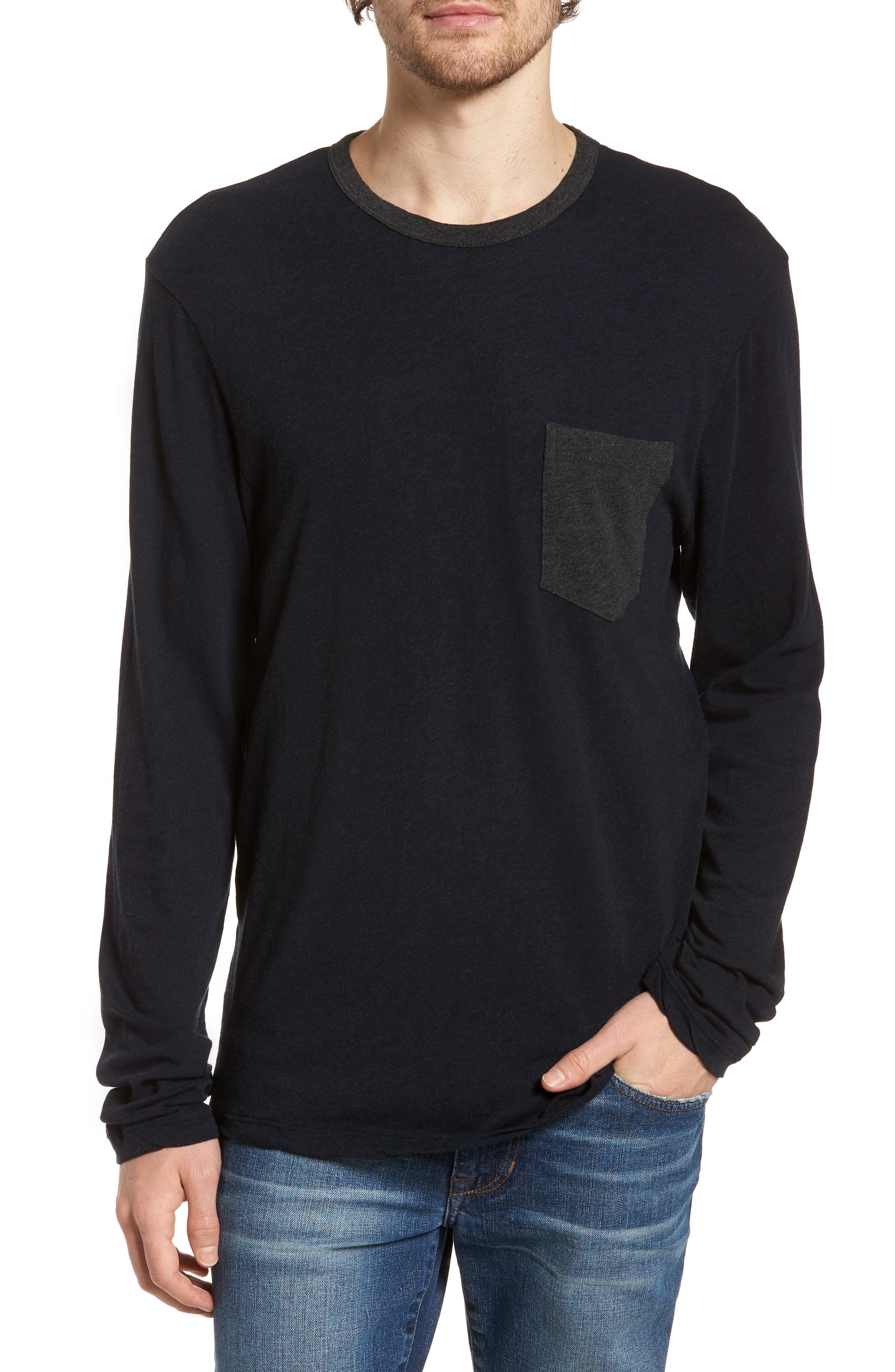 Contrast Pocket Long Sleeve T-Shirt,                         Main,                         color, Deep/ Anthracite