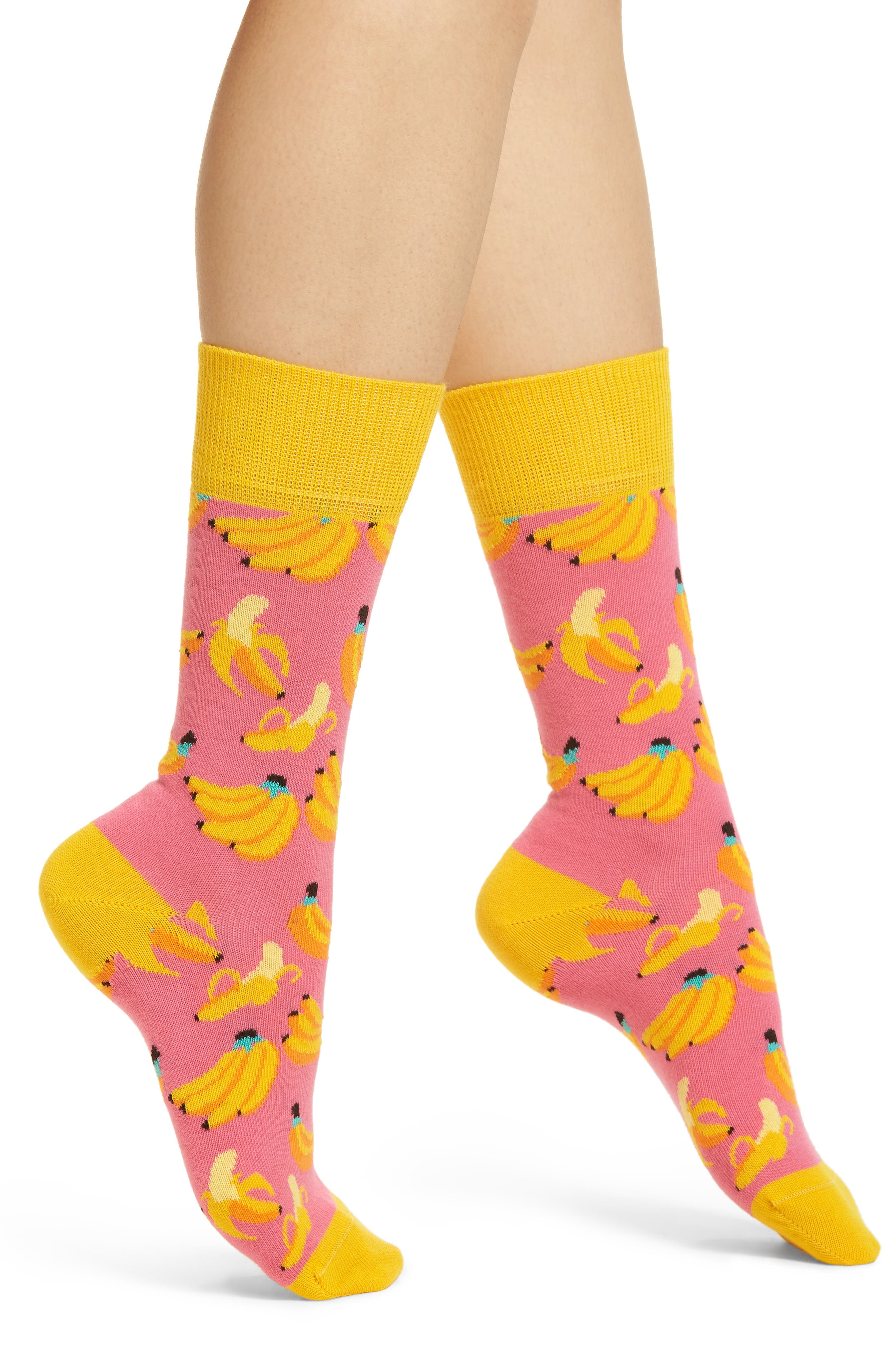 Banana Socks,                         Main,                         color, Pink