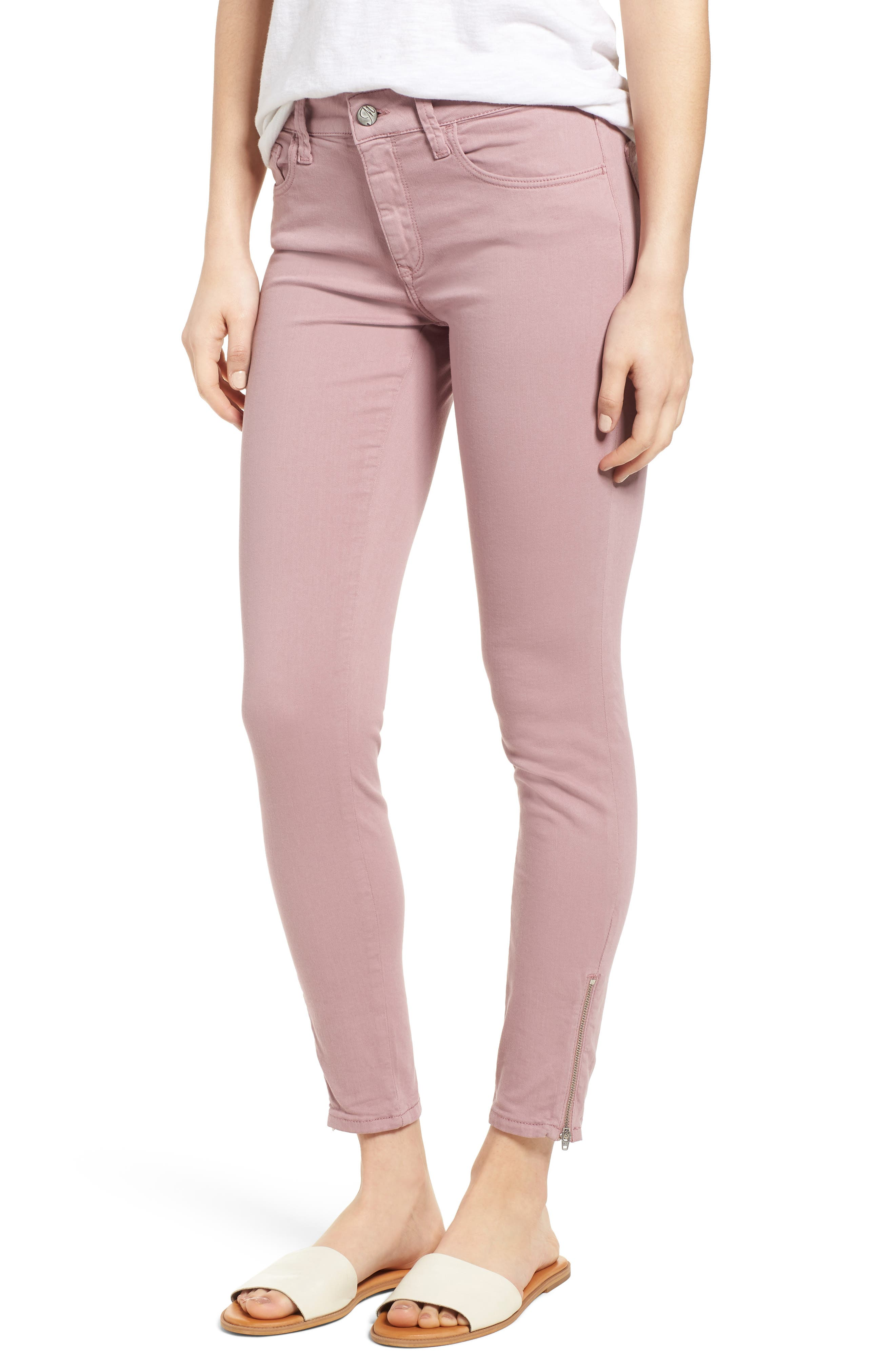 Adriana Zip Ankle Super Skinny Jeans,                             Main thumbnail 1, color,                             Zip Light Rose Twill