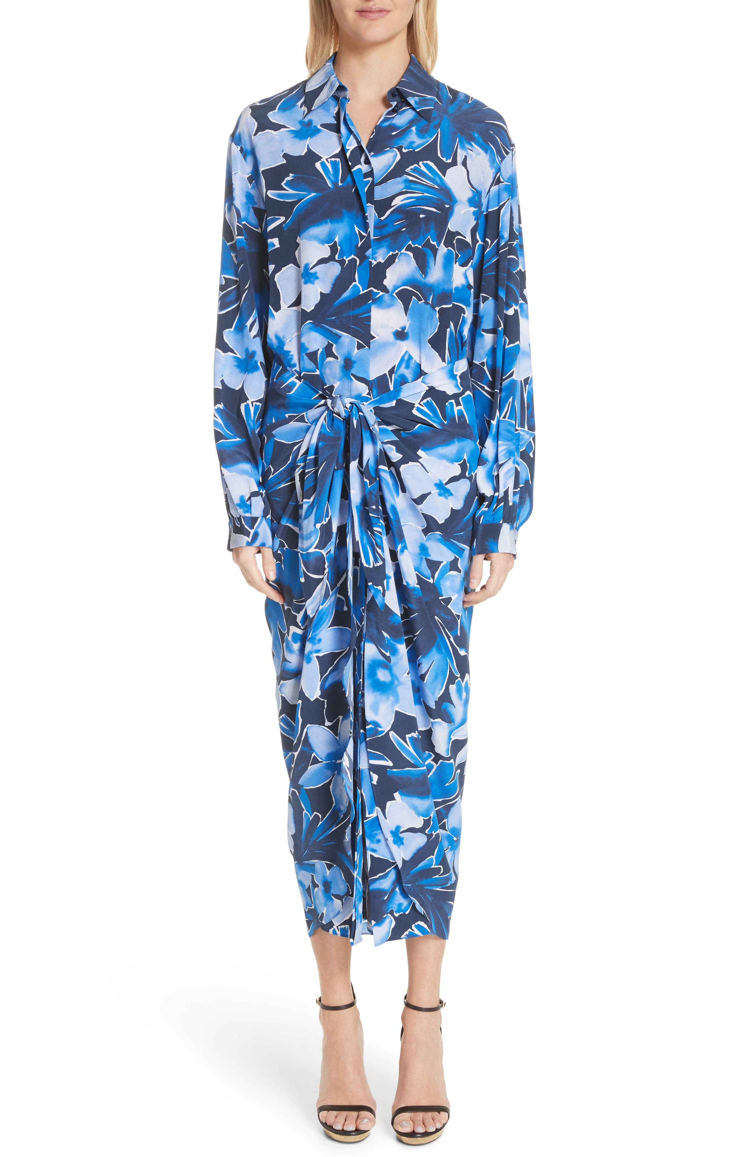 Floral Silk Sarong Dress,                         Main,                         color, Maritime Multi