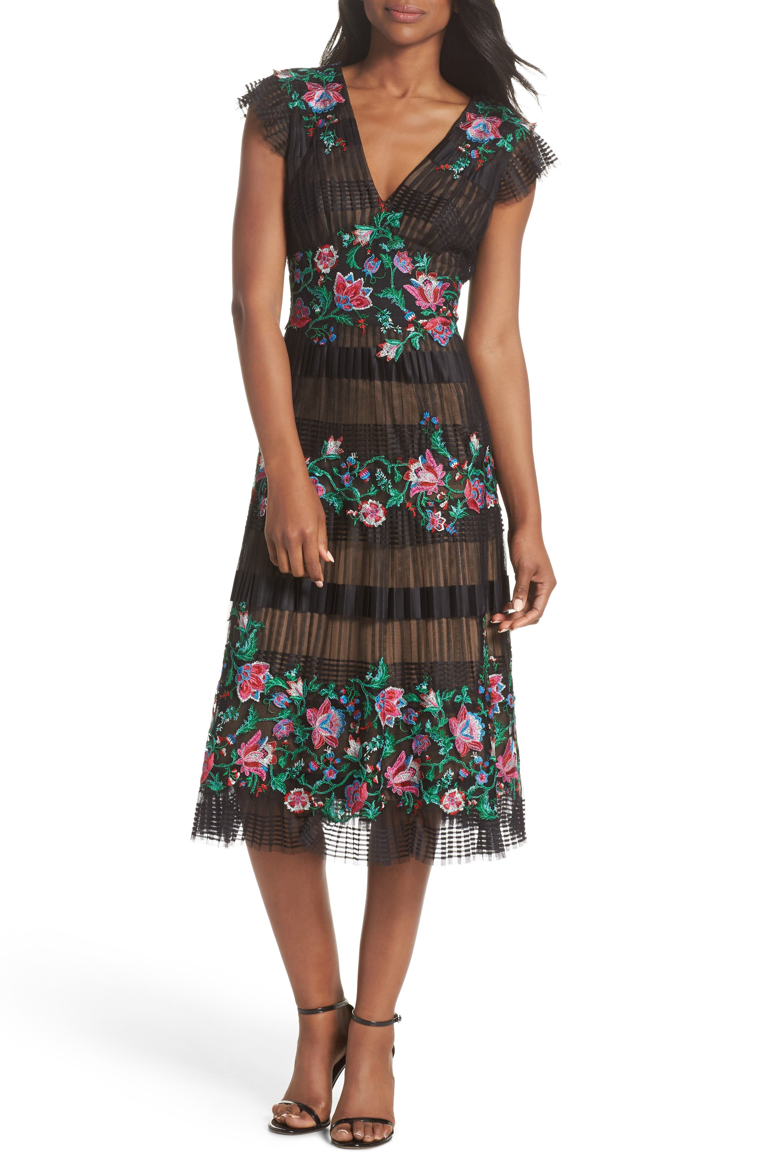 Embroidered Pleat Tulle Midi Dress,                         Main,                         color, Black Dahlia