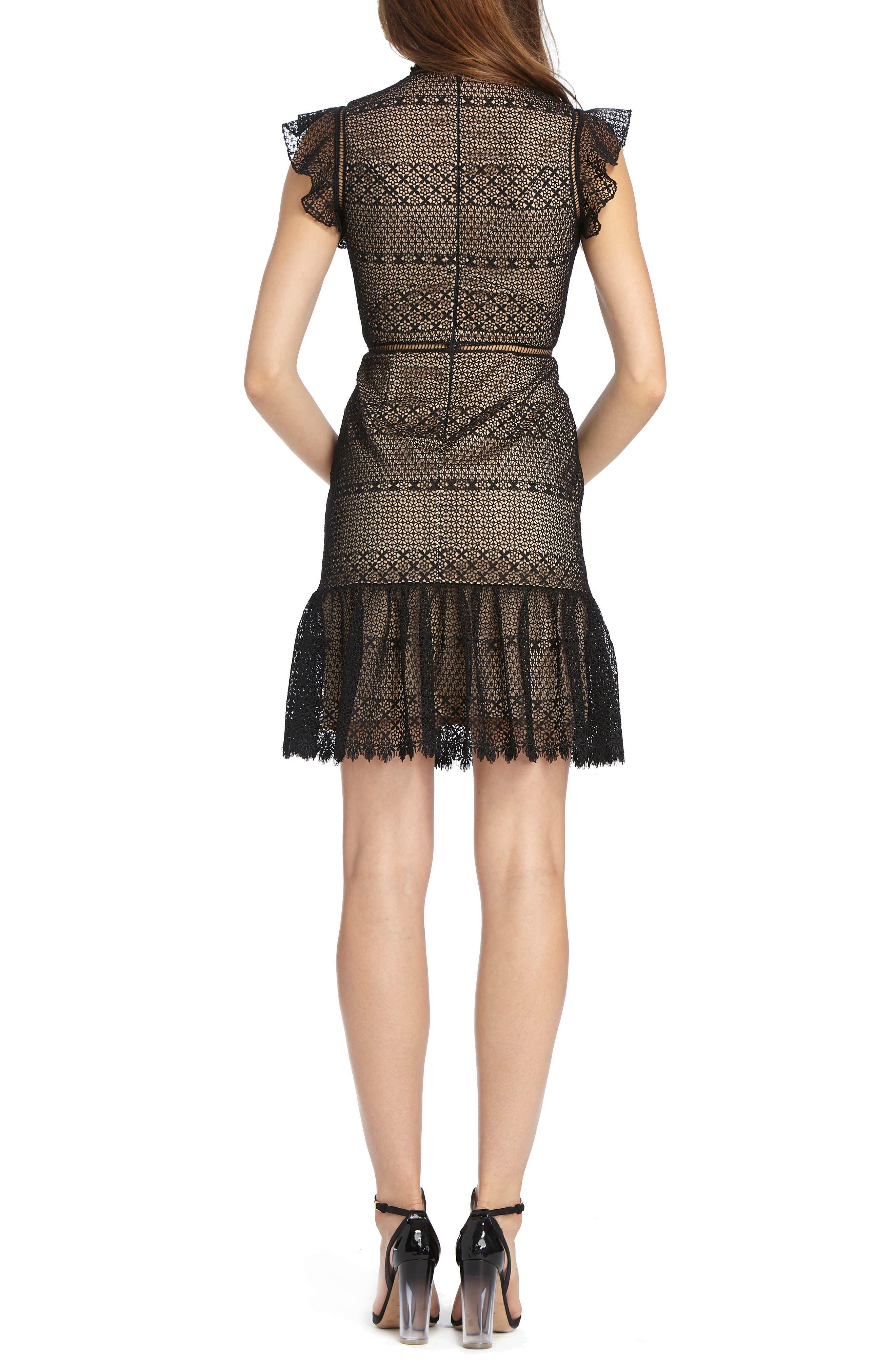 Flounce Hem Lace Dress,                             Alternate thumbnail 2, color,                             Black Nude