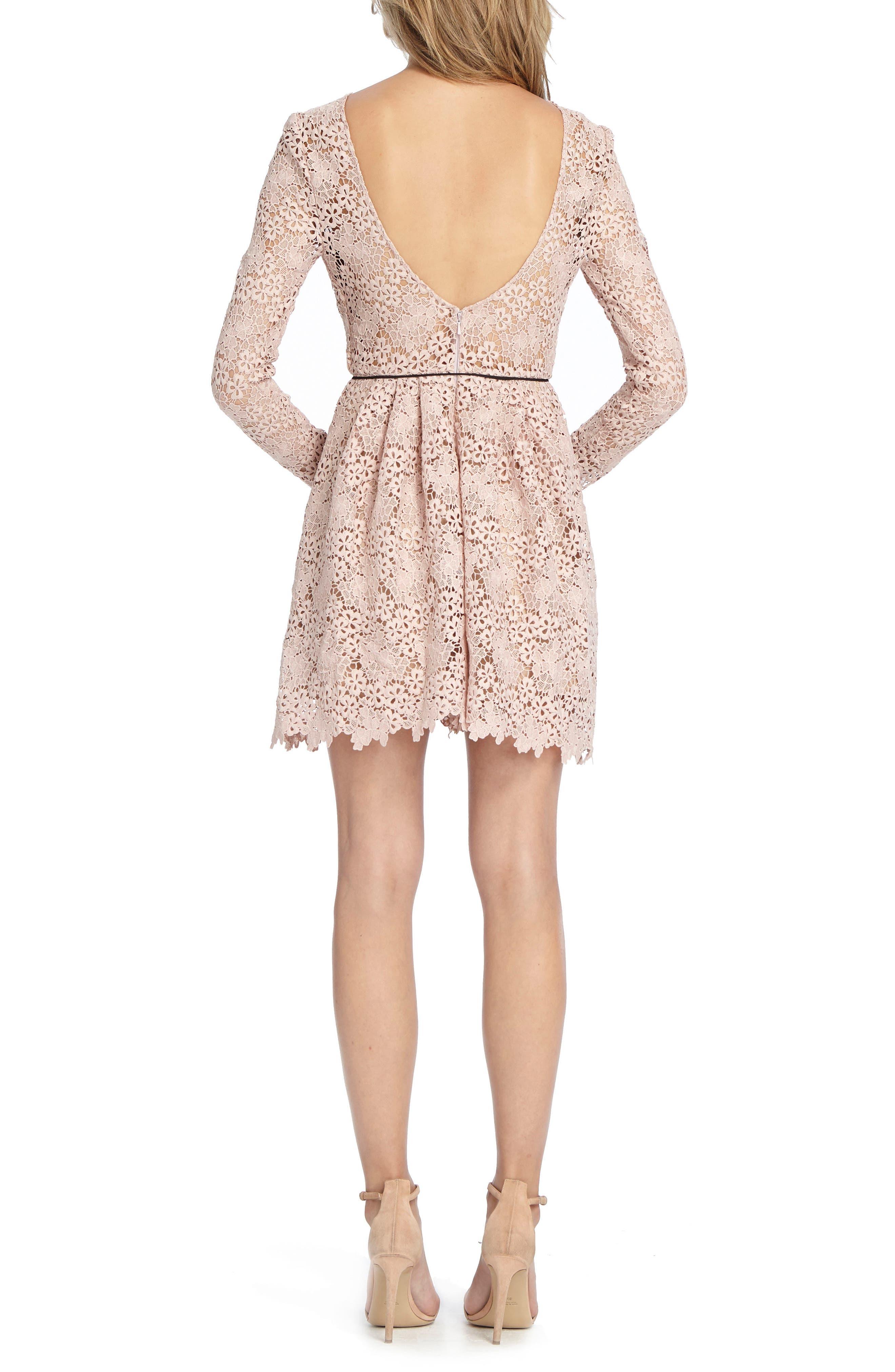 Lace Minidress,                             Alternate thumbnail 2, color,                             Blush
