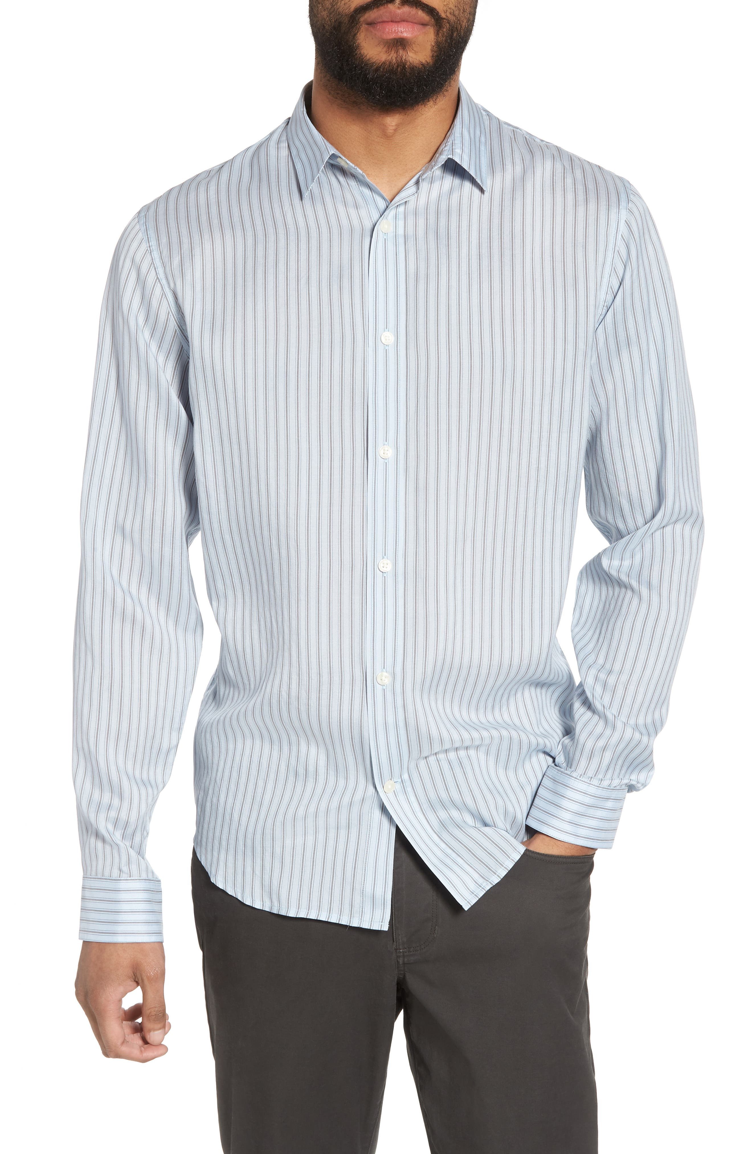 Slim Fit Stretch Stripe Sport Shirt,                             Main thumbnail 1, color,                             Feather