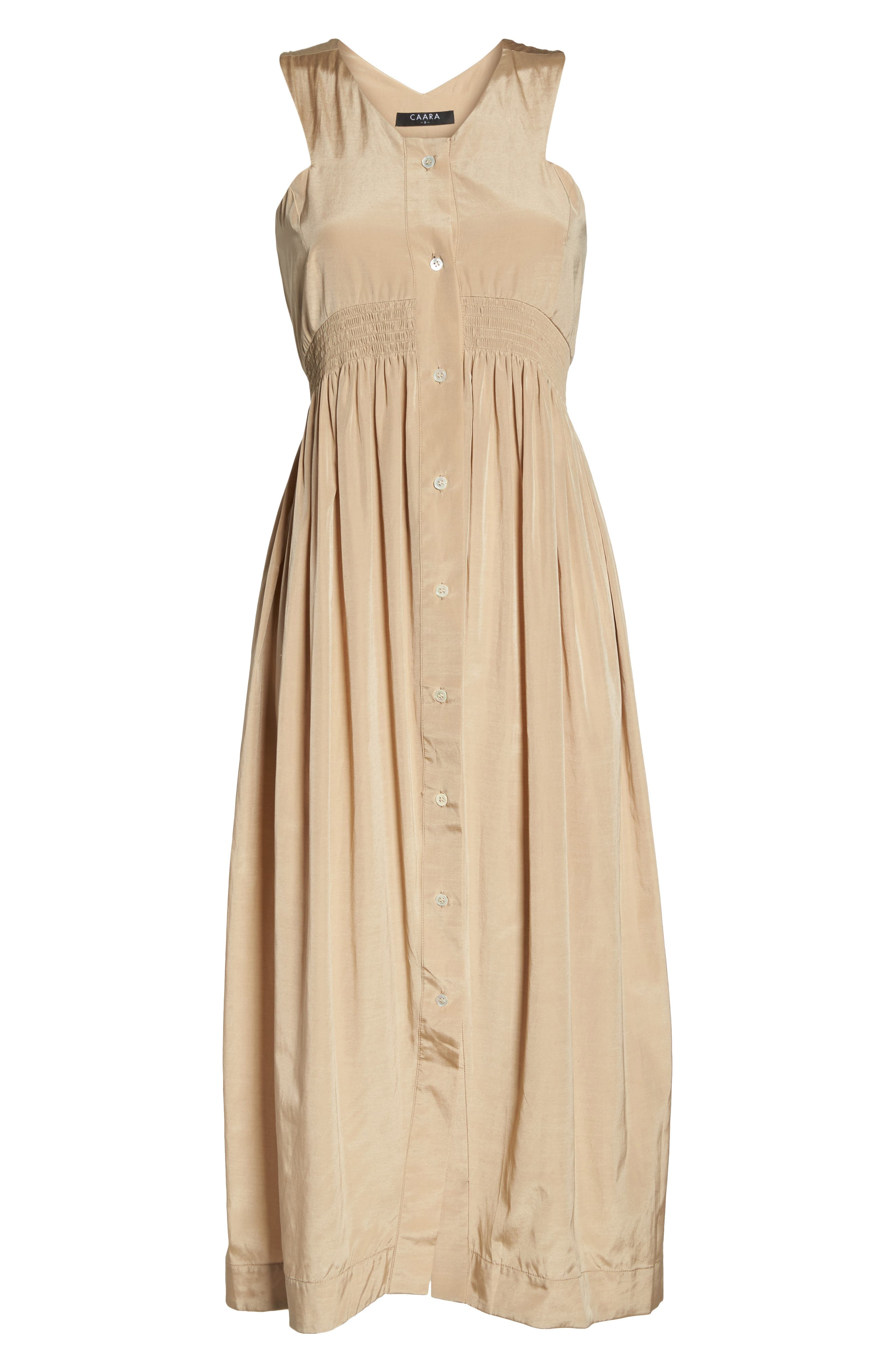Aria Cotton & Silk Midi Dress,                             Alternate thumbnail 6, color,                             Beige