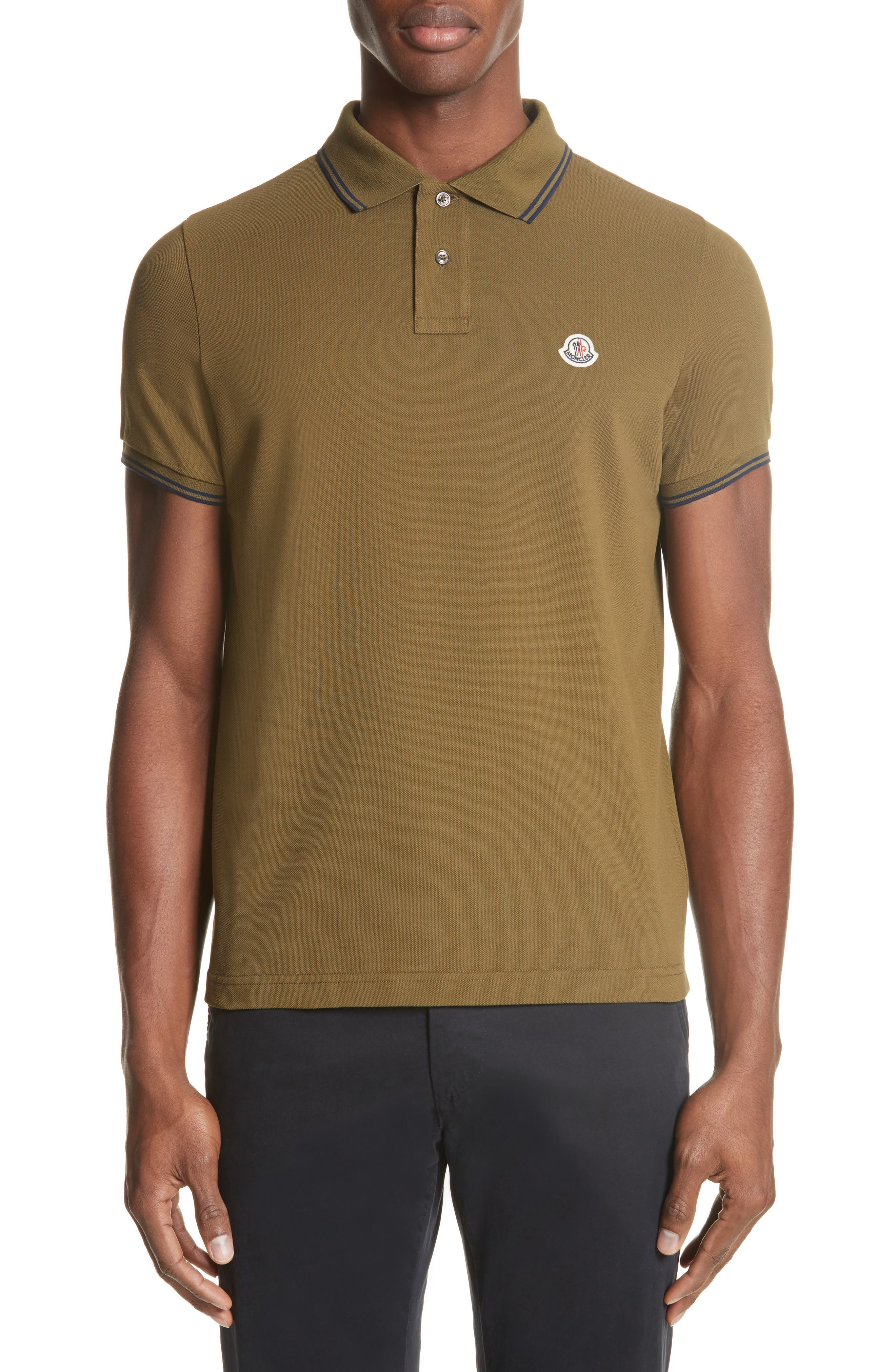 Striped Collar Polo Shirt,                         Main,                         color, Olive