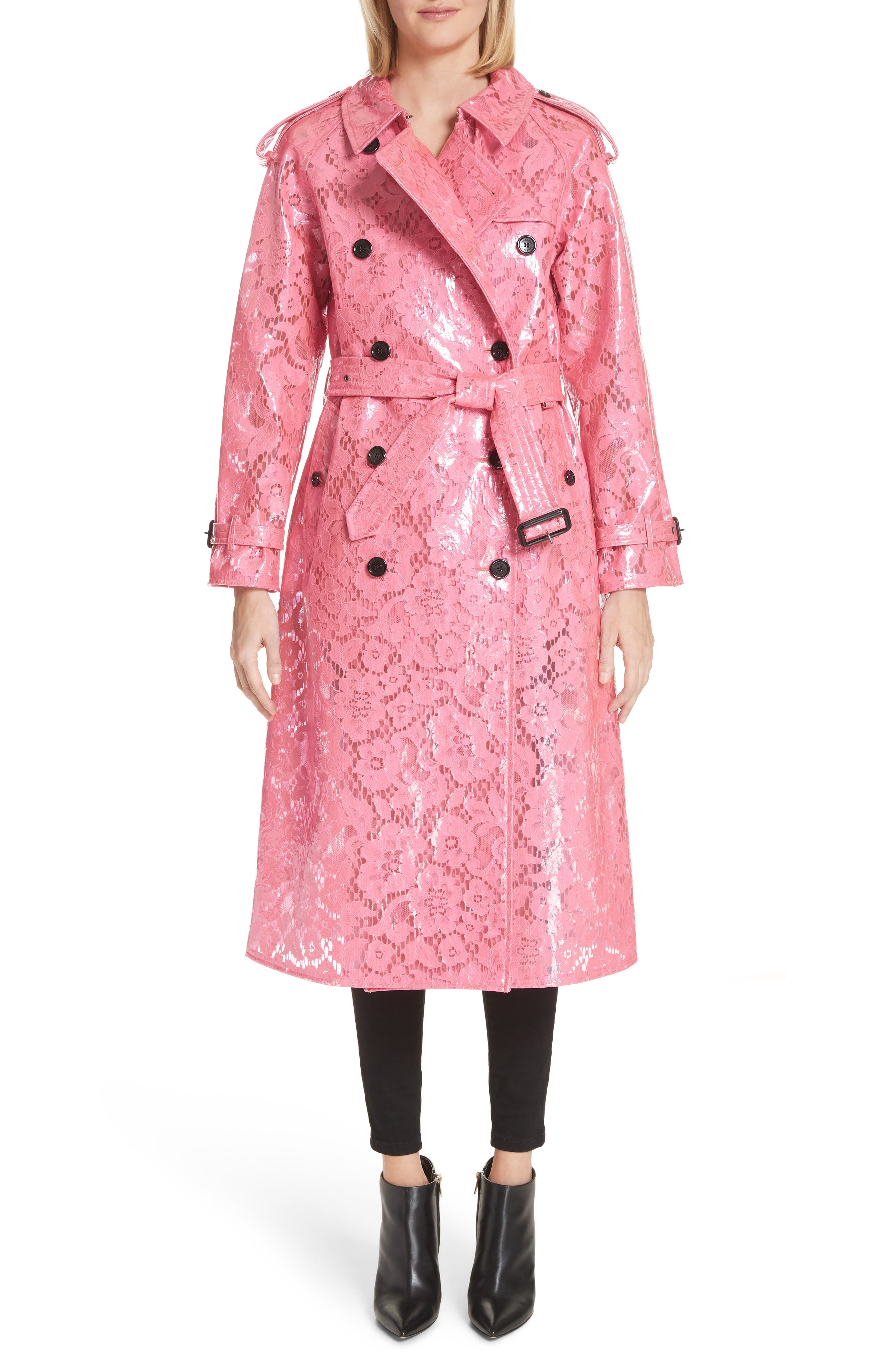 Eastheath Coated Lace Trench Coat,                         Main,                         color, Bright Pink