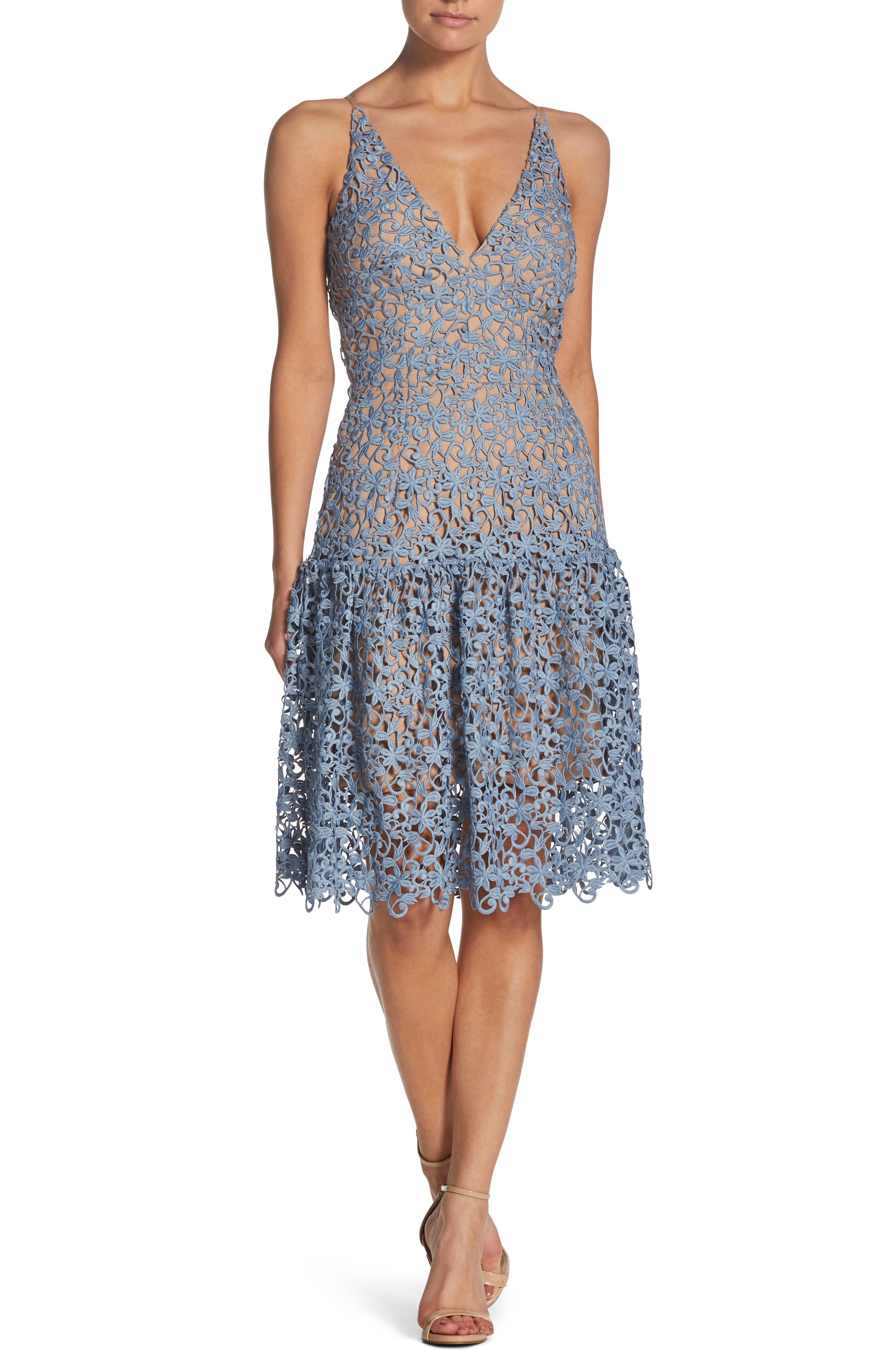 Lily Crochet Fit & Flare Dress,                         Main,                         color, Mineral Blue/ Nude