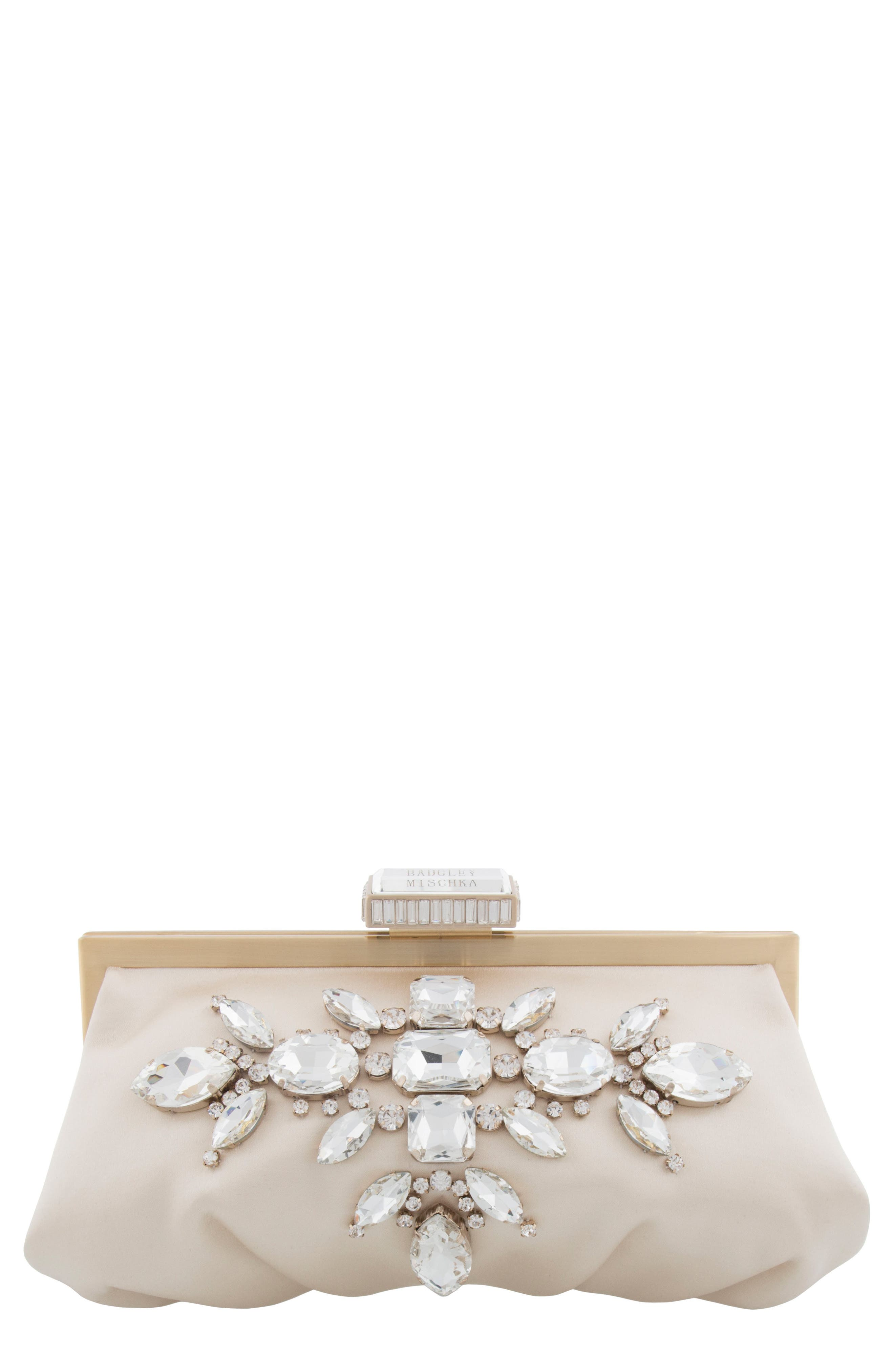 Glow Embellished Frame Clutch,                             Main thumbnail 1, color,                             Ivory