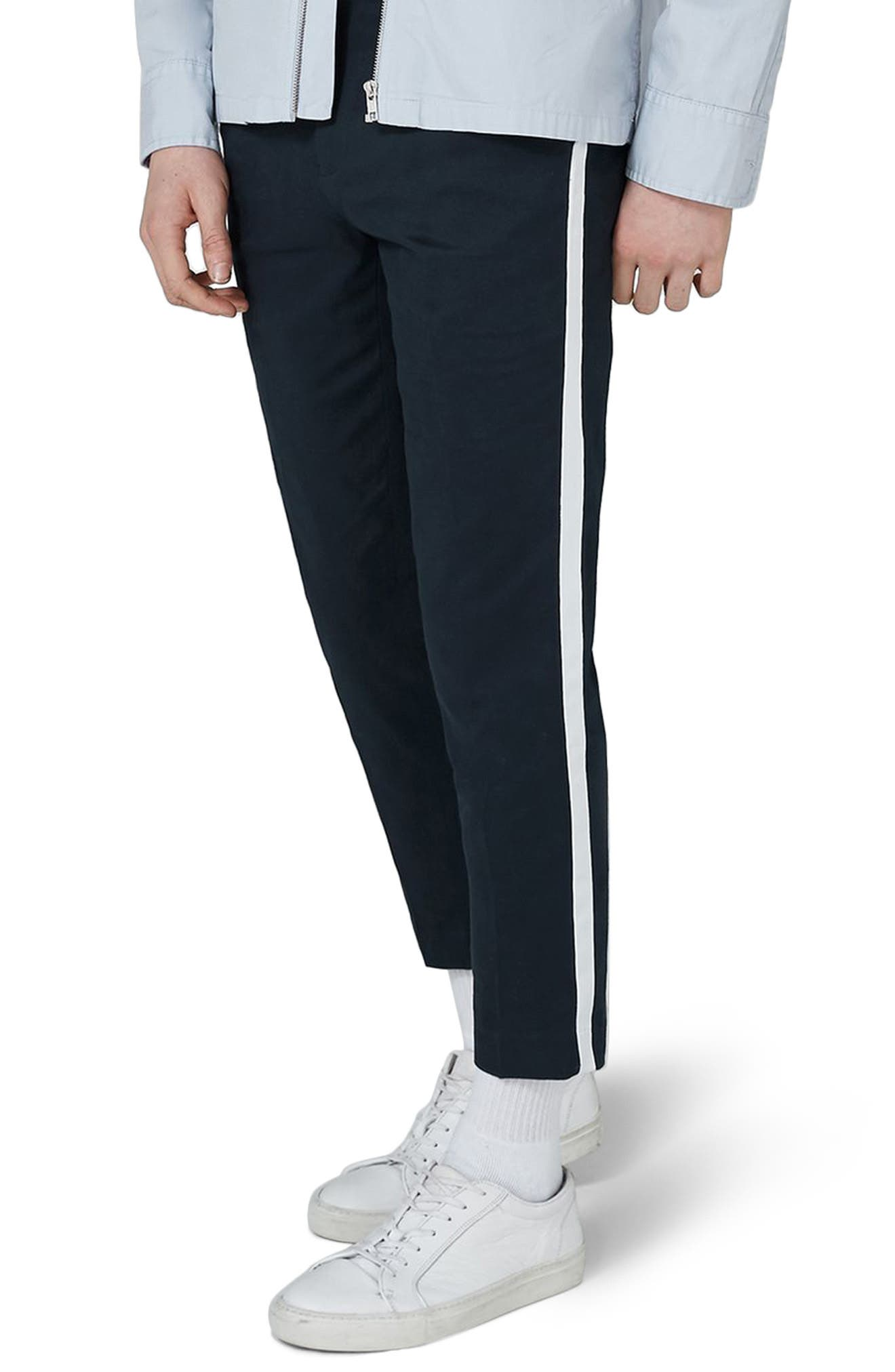 Skinny Fit Cropped Twill Trousers,                         Main,                         color, Dark Blue Multi