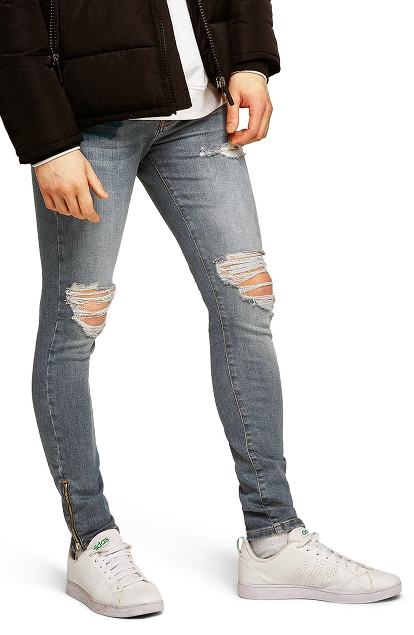Ripped Spray-On Skinny Fit Jeans,                             Main thumbnail 1, color,                             Blue