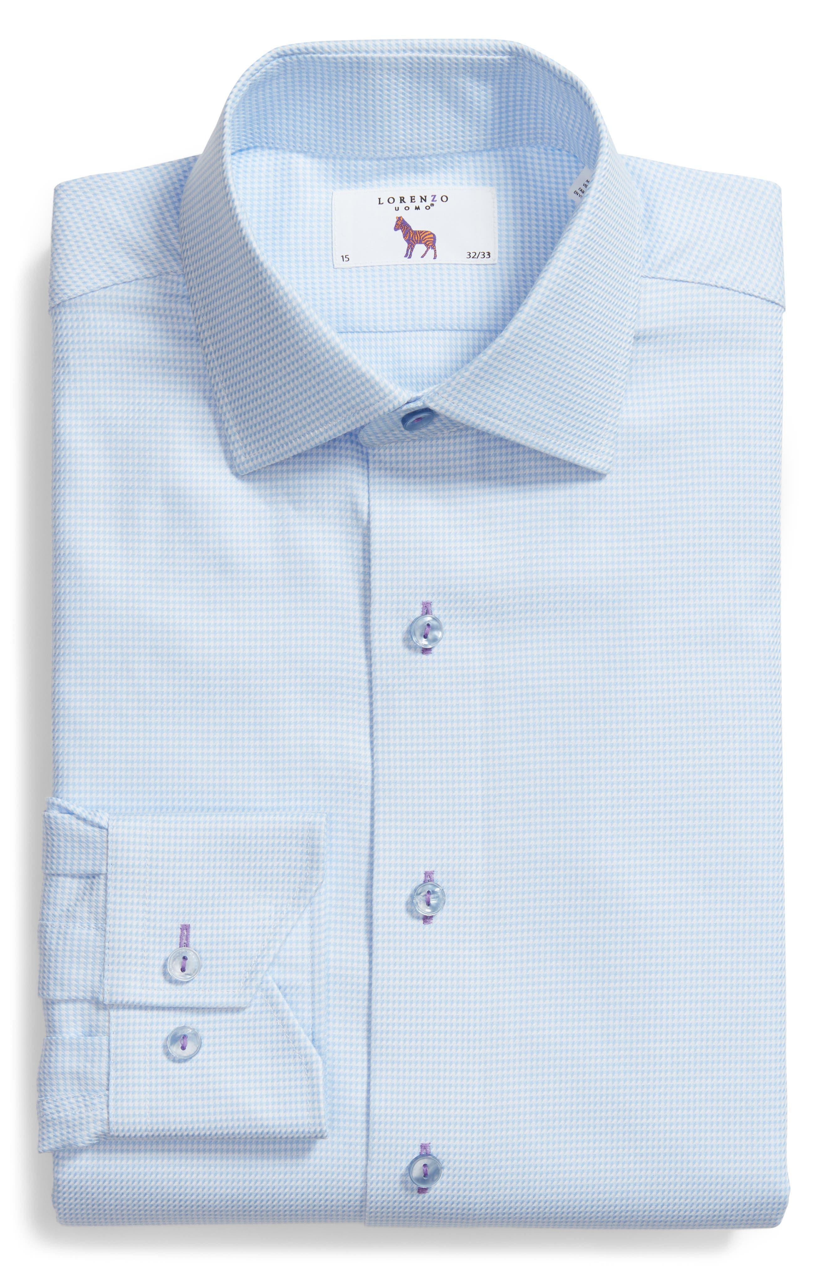 Trim Fit Houndstooth Dress Shirt,                             Alternate thumbnail 6, color,                             Light Blue