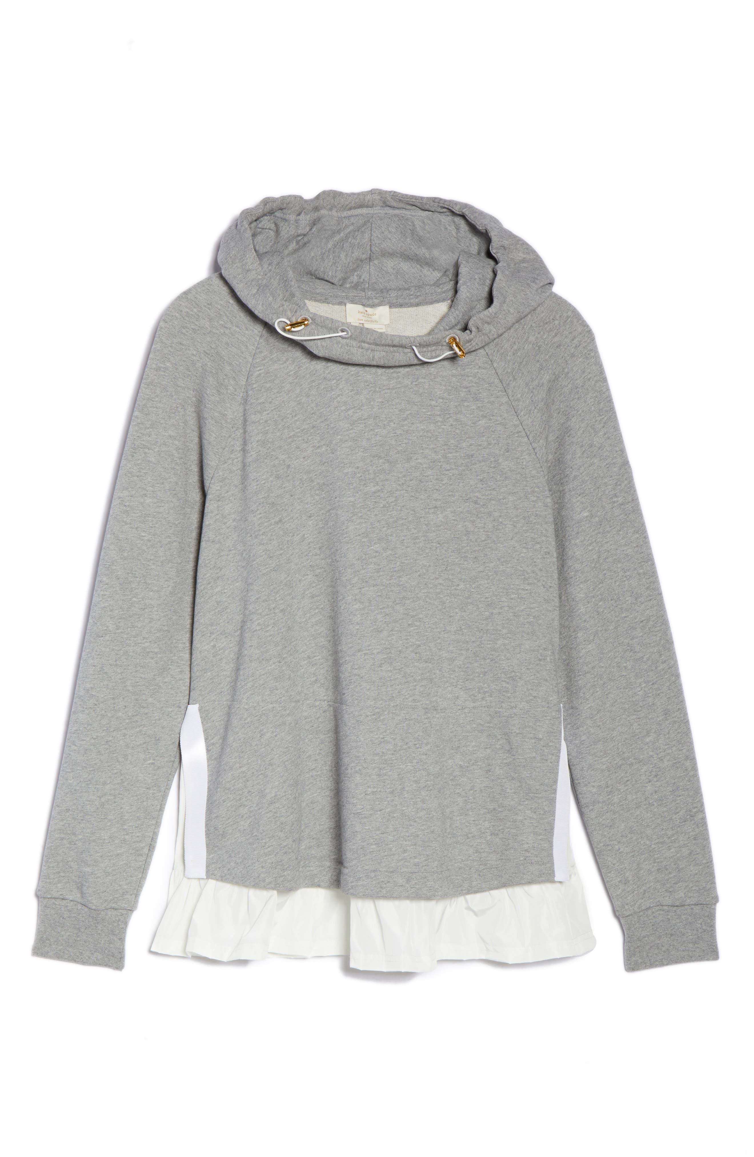 ruffle hoodie sweatshirt,                             Alternate thumbnail 7, color,                             Flint Heather