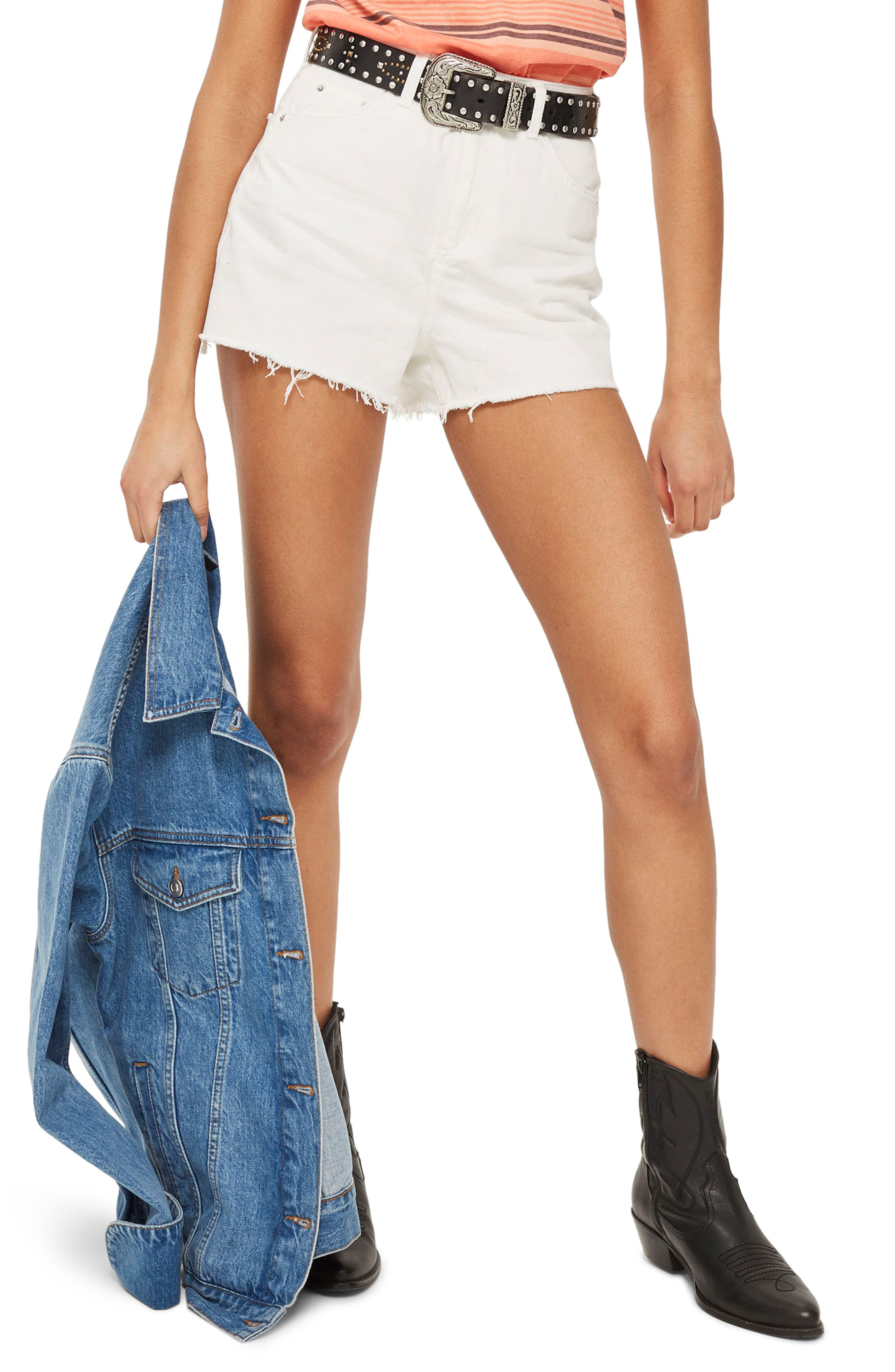 Cutoff Denim Mom Shorts,                         Main,                         color, White