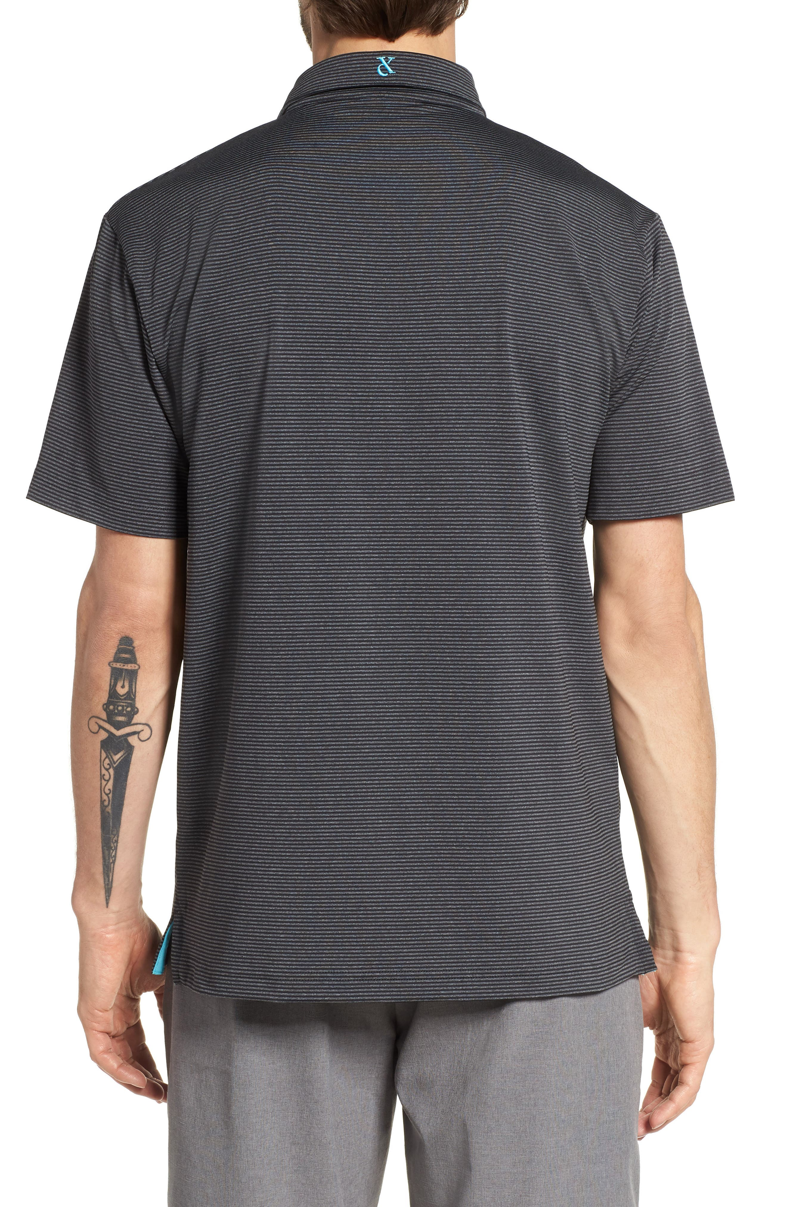Oracle Stripe Jersey Polo,                             Alternate thumbnail 2, color,                             Caviar/ Charcoal