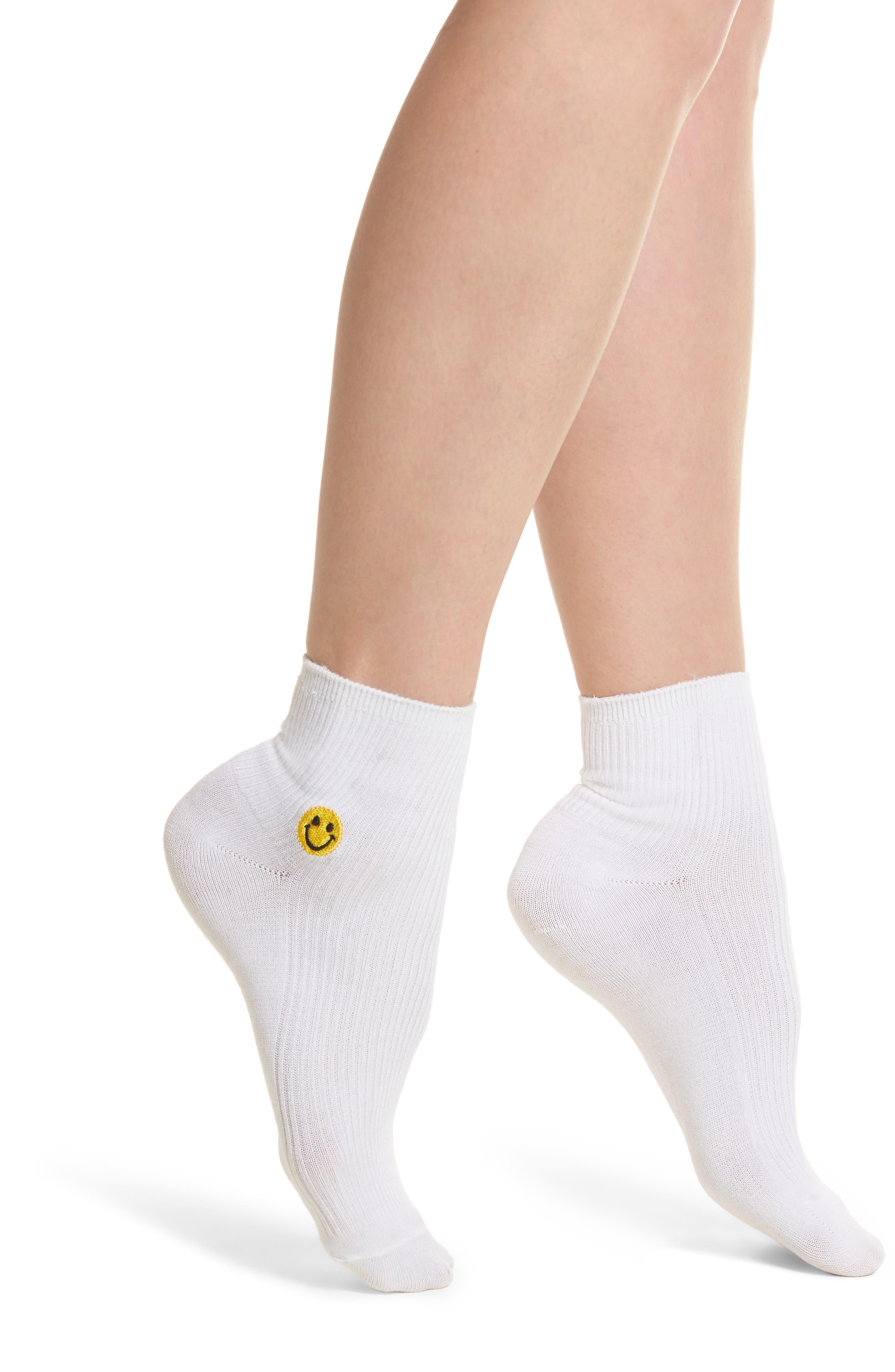 Smiles Ankle Socks,                             Main thumbnail 1, color,                             White