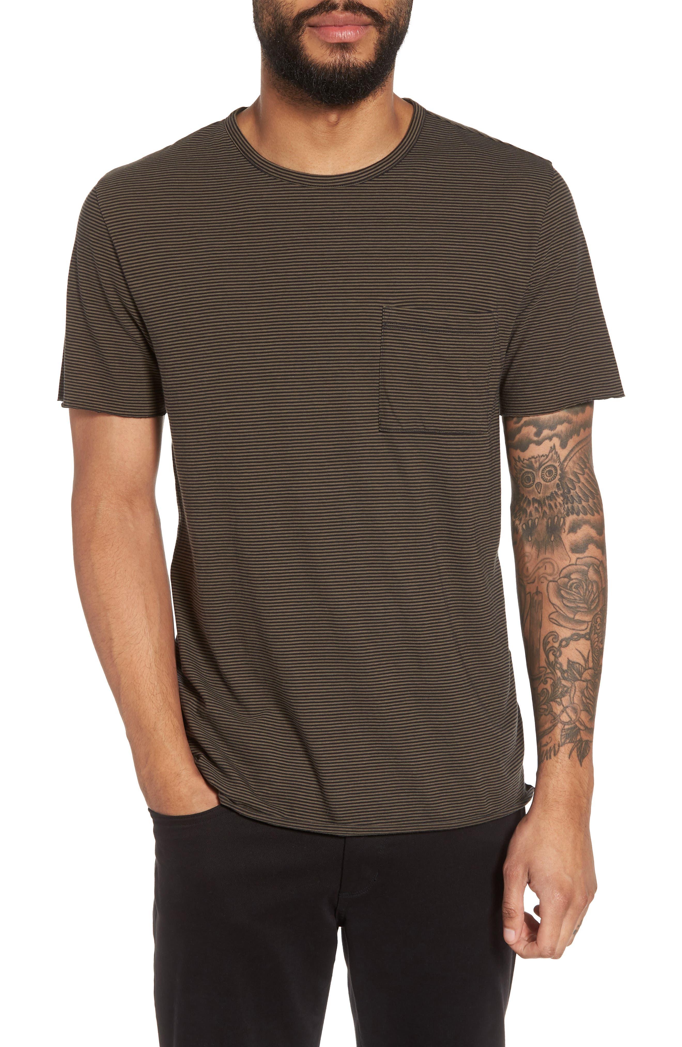 Slim Fit Stripe Pocket T-Shirt,                         Main,                         color, Black/ Camp Green