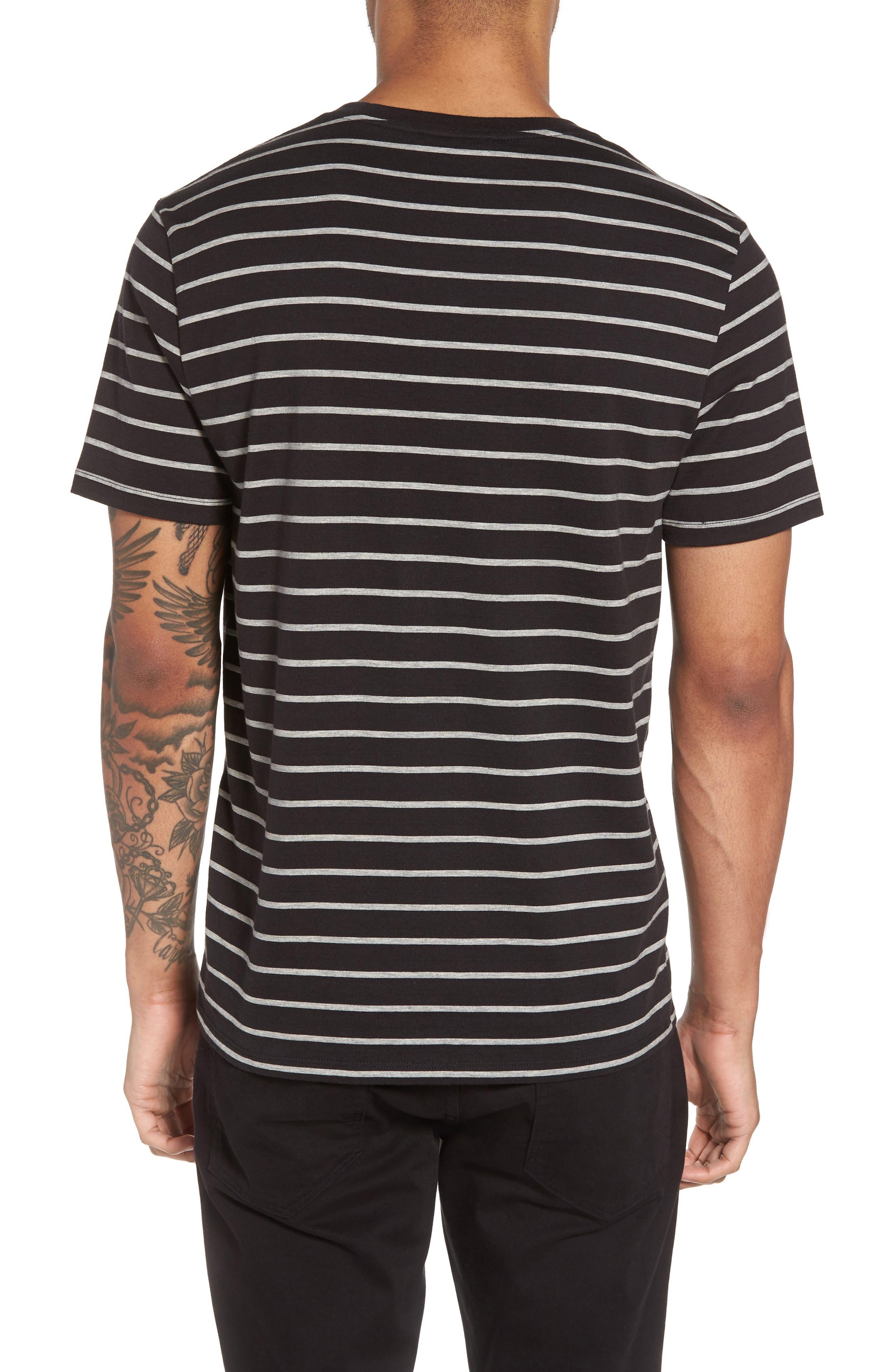 Slim Fit Heathered Stripe T-Shirt,                             Alternate thumbnail 2, color,                             Black/ Heather Steel