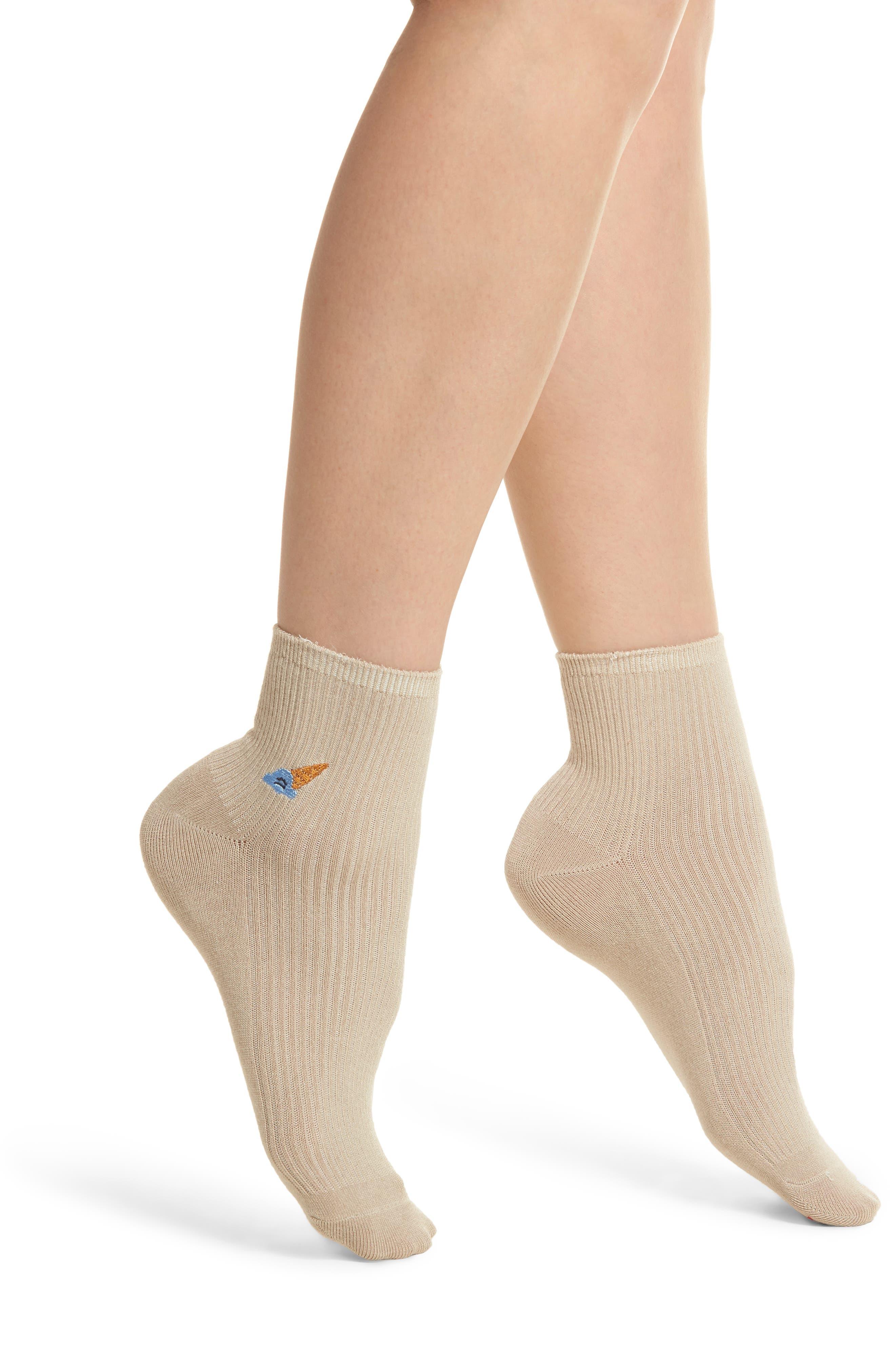 Coney Ankle Socks,                         Main,                         color, Oatmeal