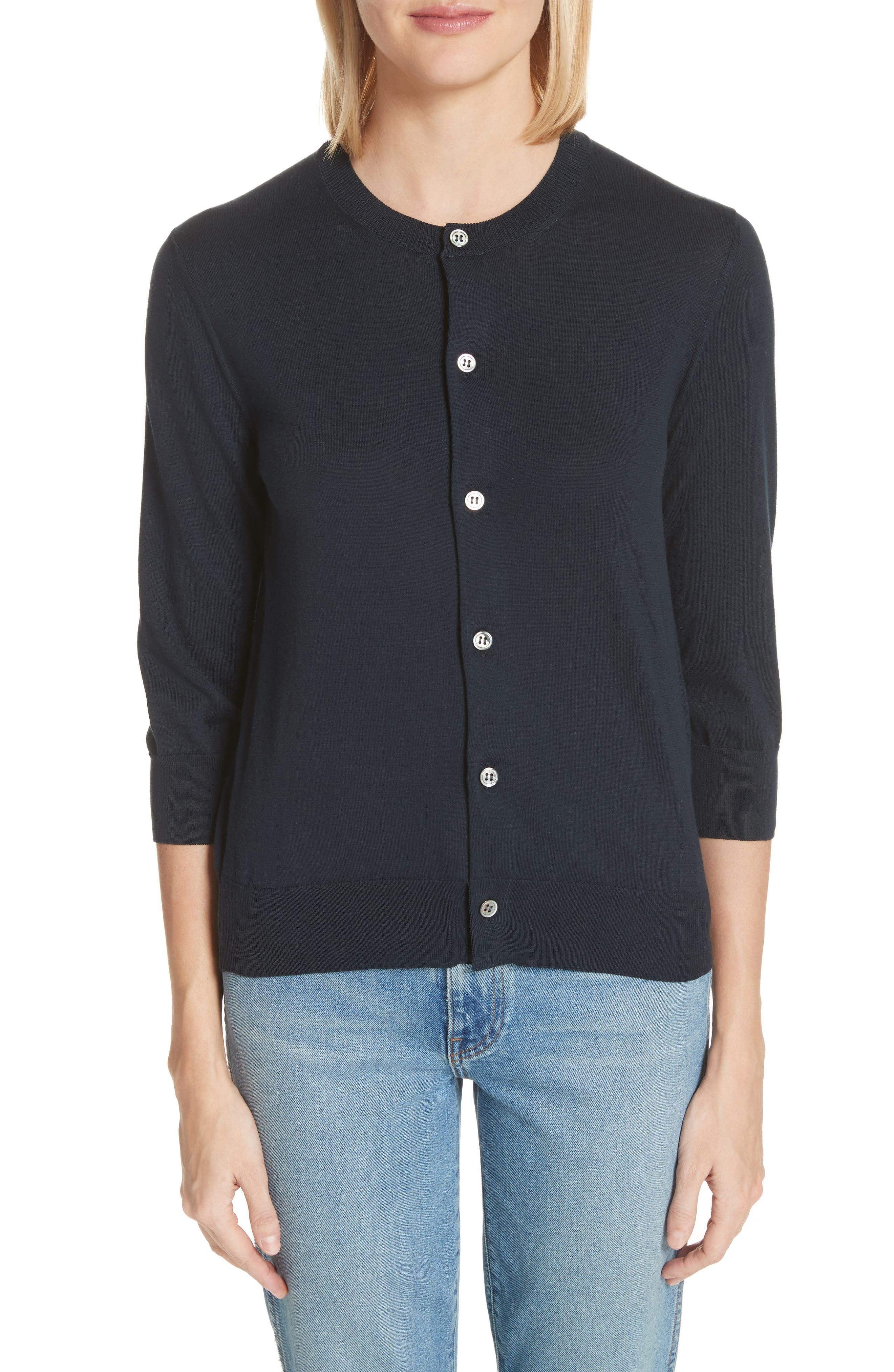 Button Cardigan,                         Main,                         color, Navy