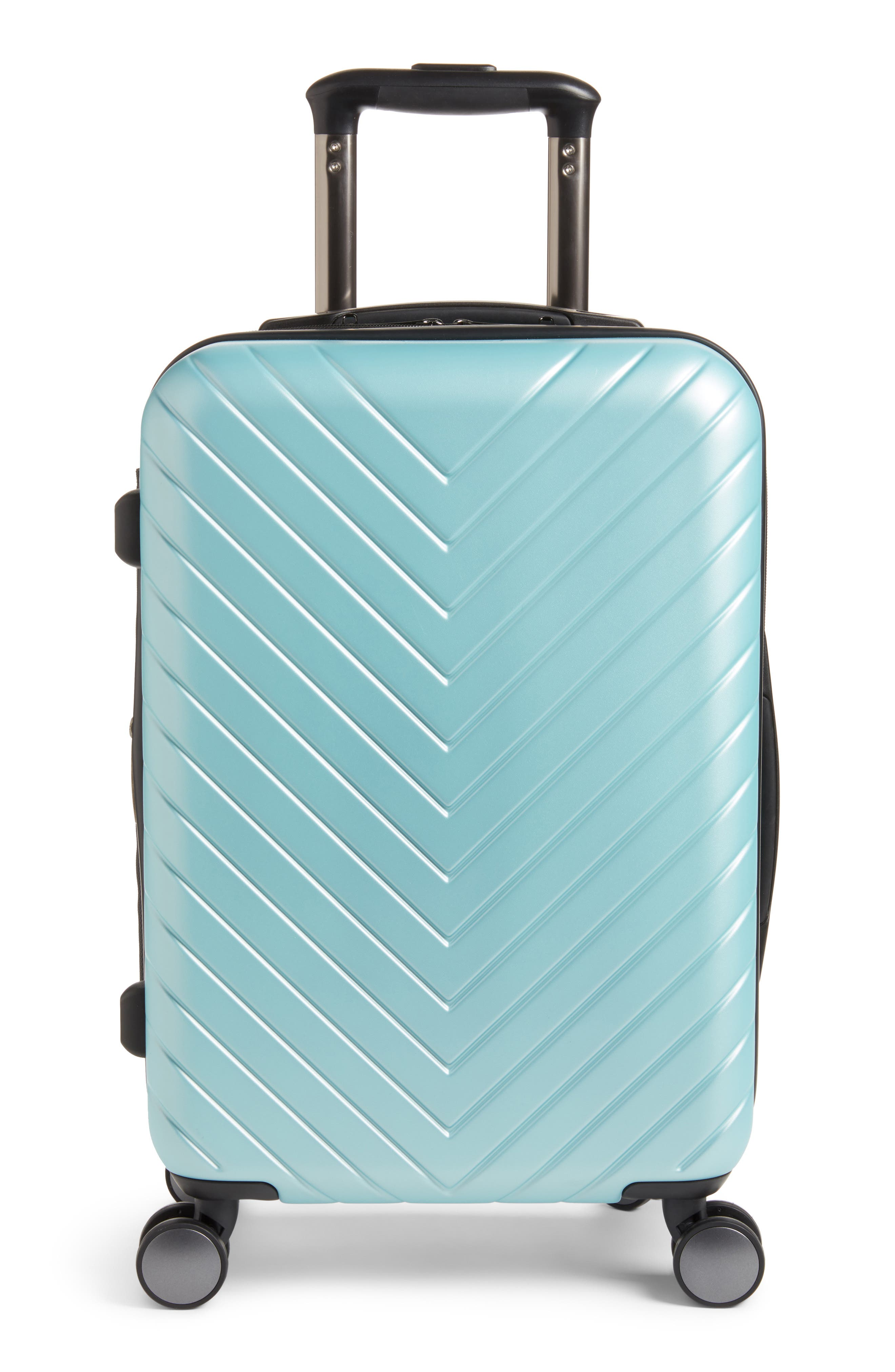 Chevron 20-Inch Spinner Carry-On,                         Main,                         color, Teal Surf