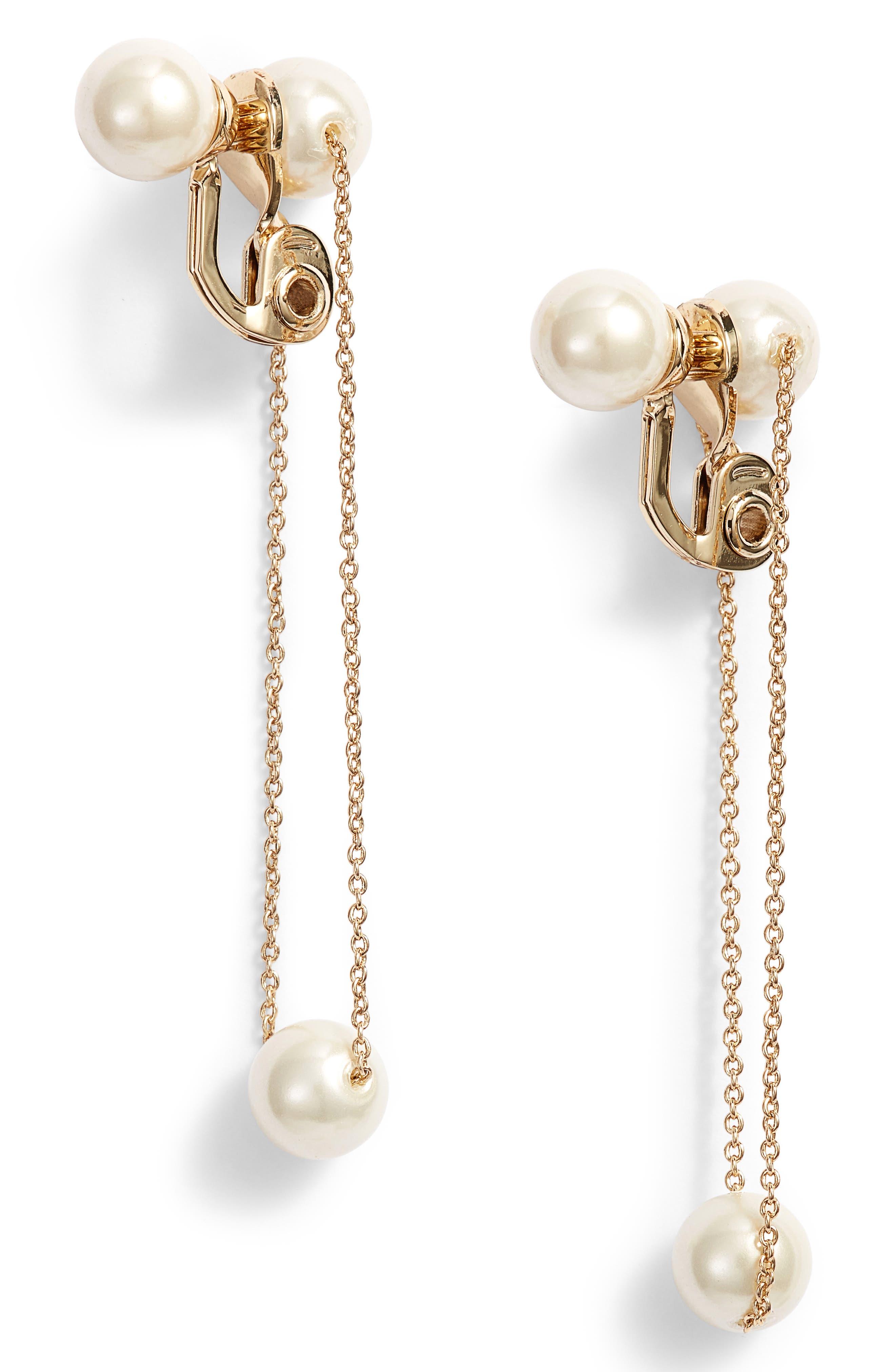 Imitation Pearl Clip Earrings,                         Main,                         color, Gold