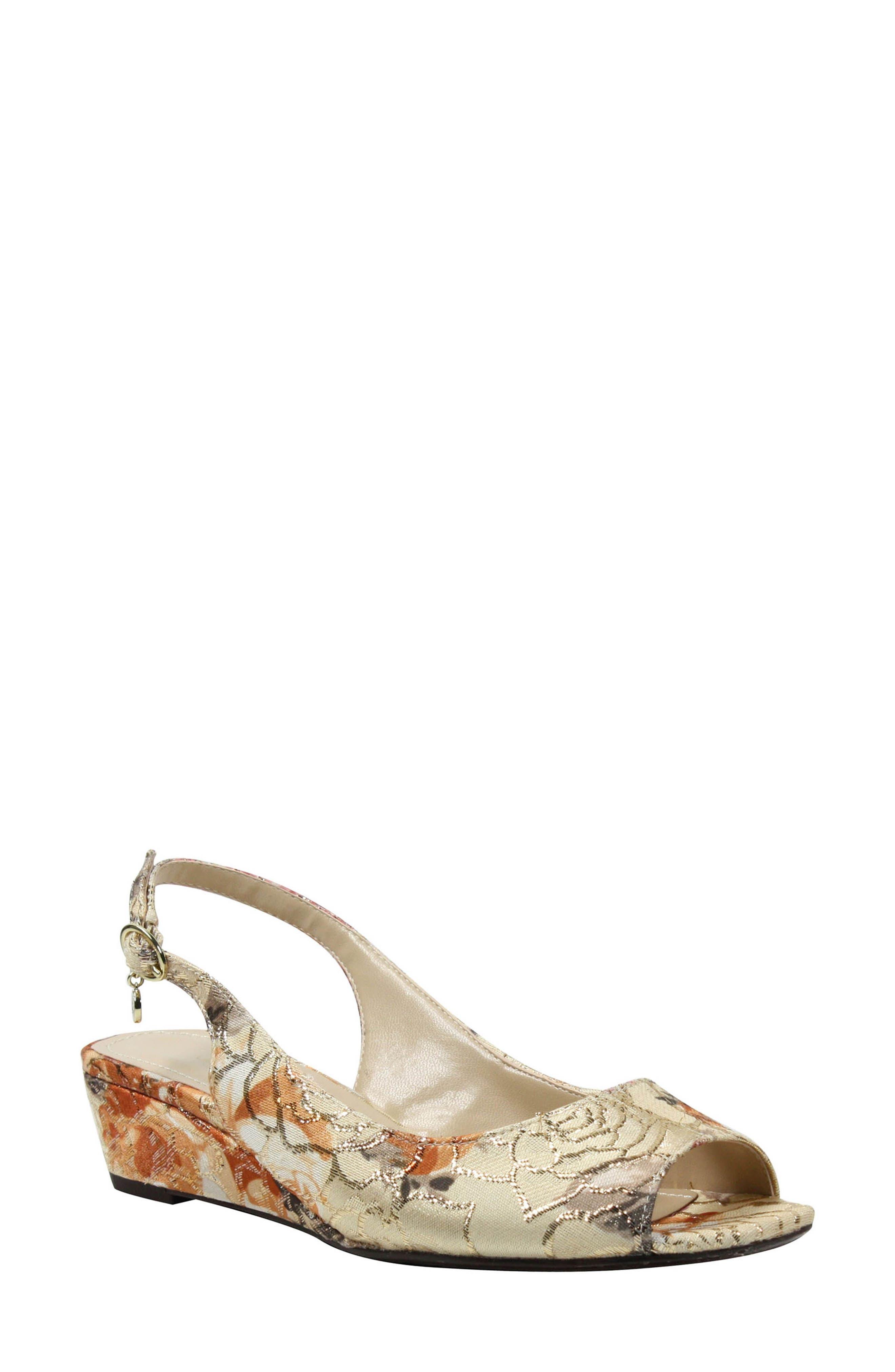 Alivia Slingback Sandal,                             Main thumbnail 1, color,                             Nude Multi/ Gold Fabric